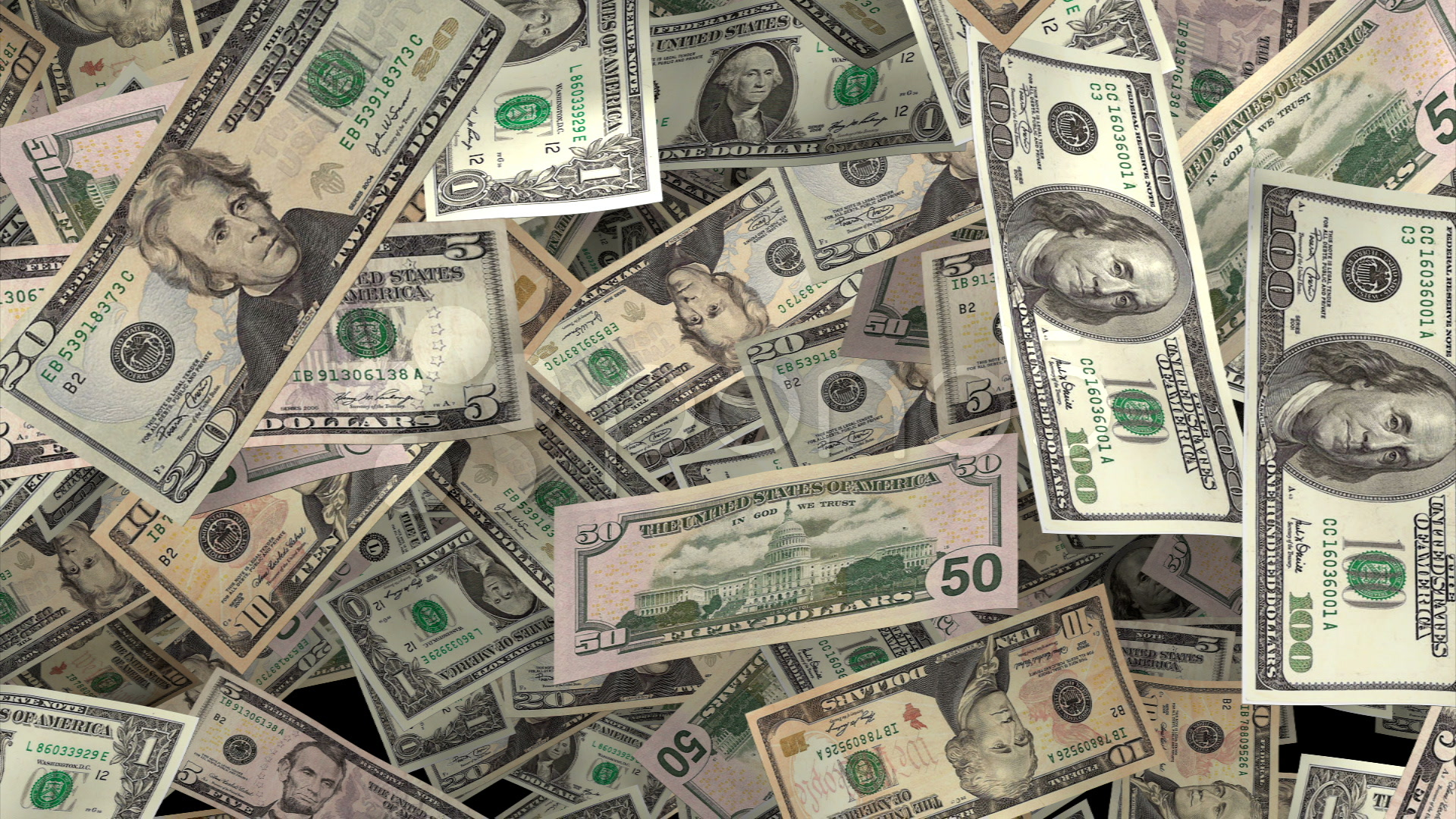 Money surge hundred dollar bills slide in ~ Footage #623523
