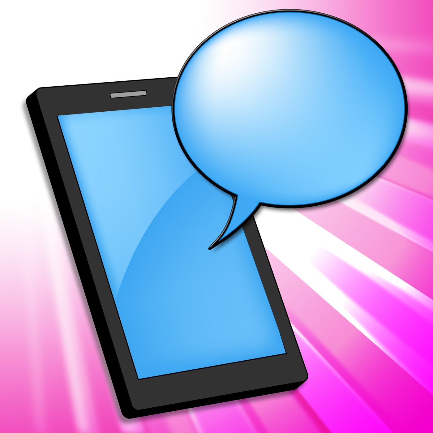 Mobile phone indicates smartphone online and chatting photo