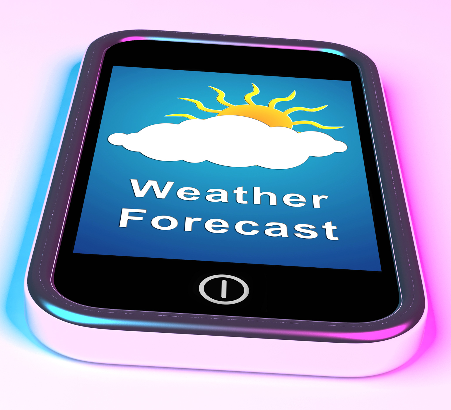 Mobile phone shows cloudy sun weather forecast photo