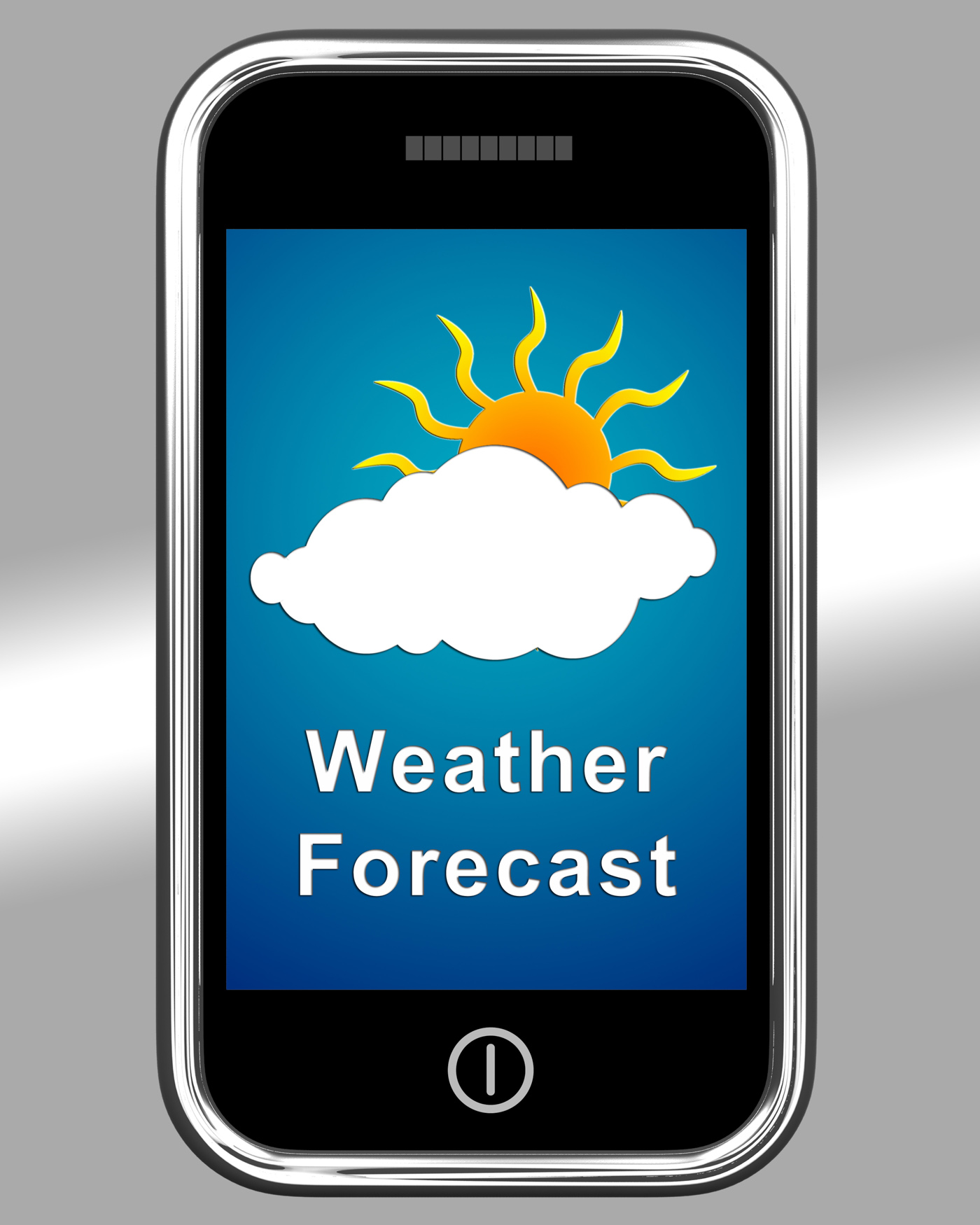 Mobile phone shows cloudy weather forecast photo