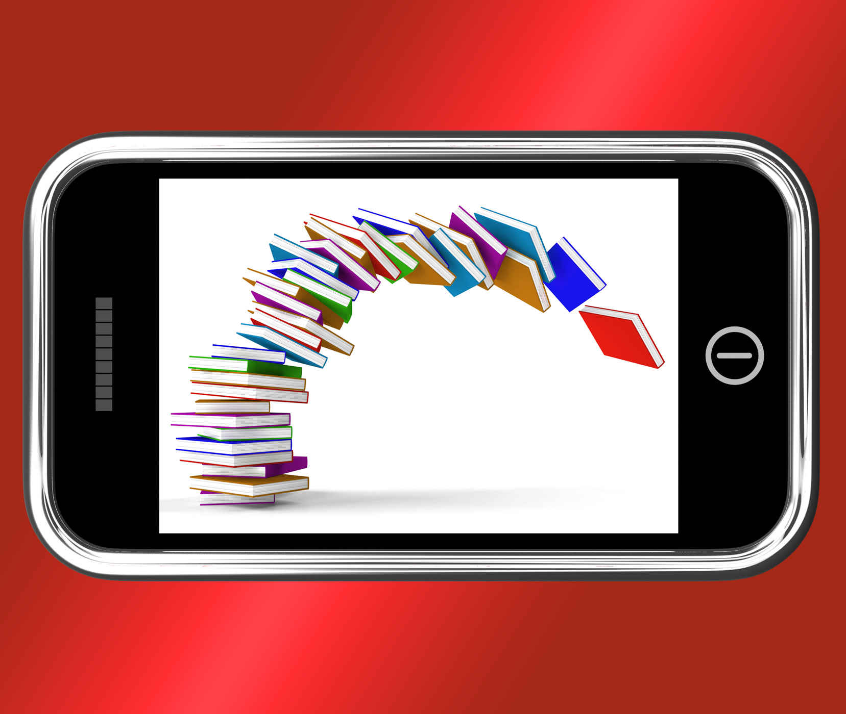 Mobile phone with falling books shows online knowledge photo