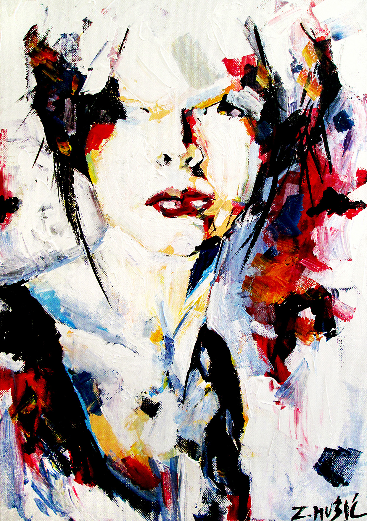abstract-portrait -acrylic-on-canvas-contemporary-art-painting ...