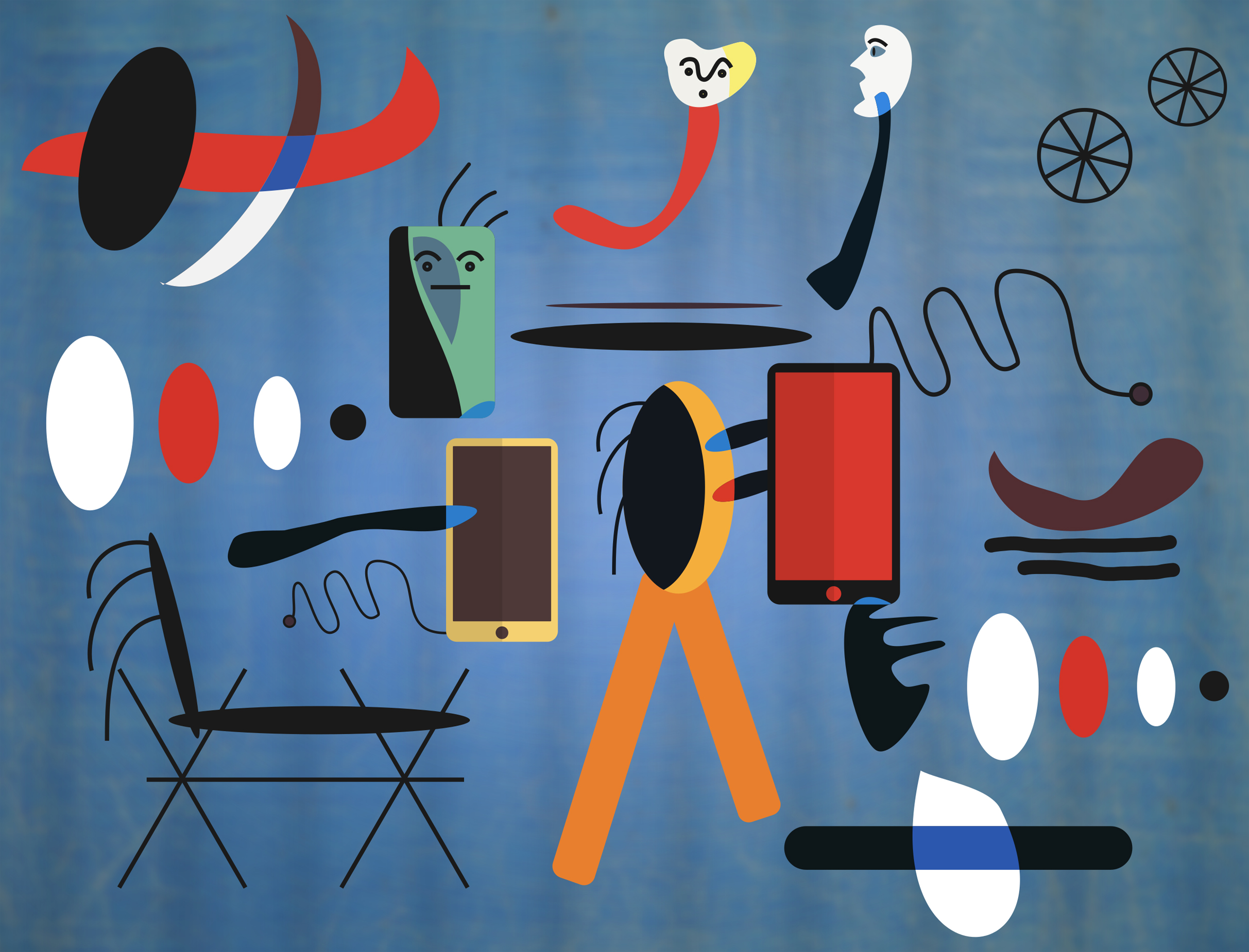 Modern Communication - Parents and Children - Inspired in Juan Miro, Addict, Partnership, Relation, Reading, HQ Photo