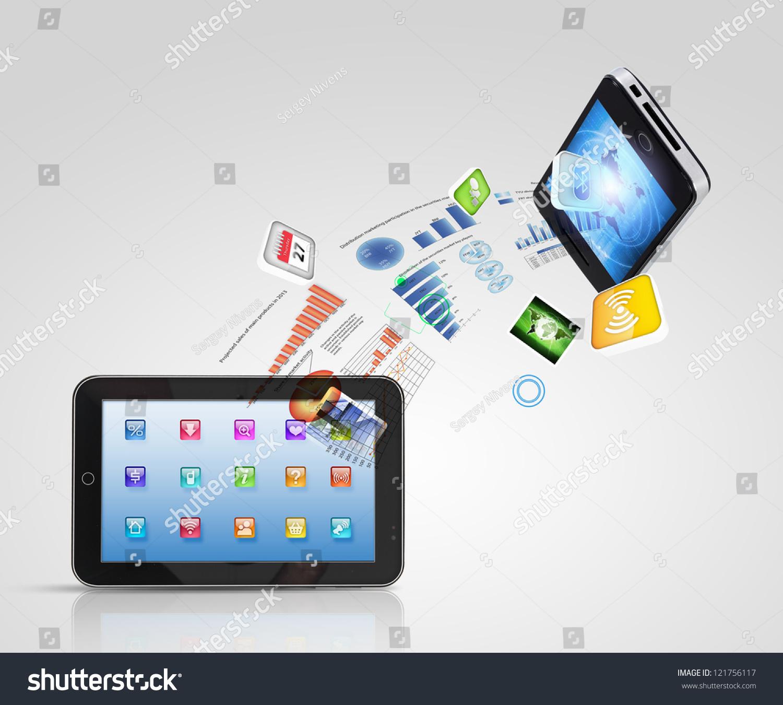 Modern Communication Technology Illustration Mobile Phone Stock ...