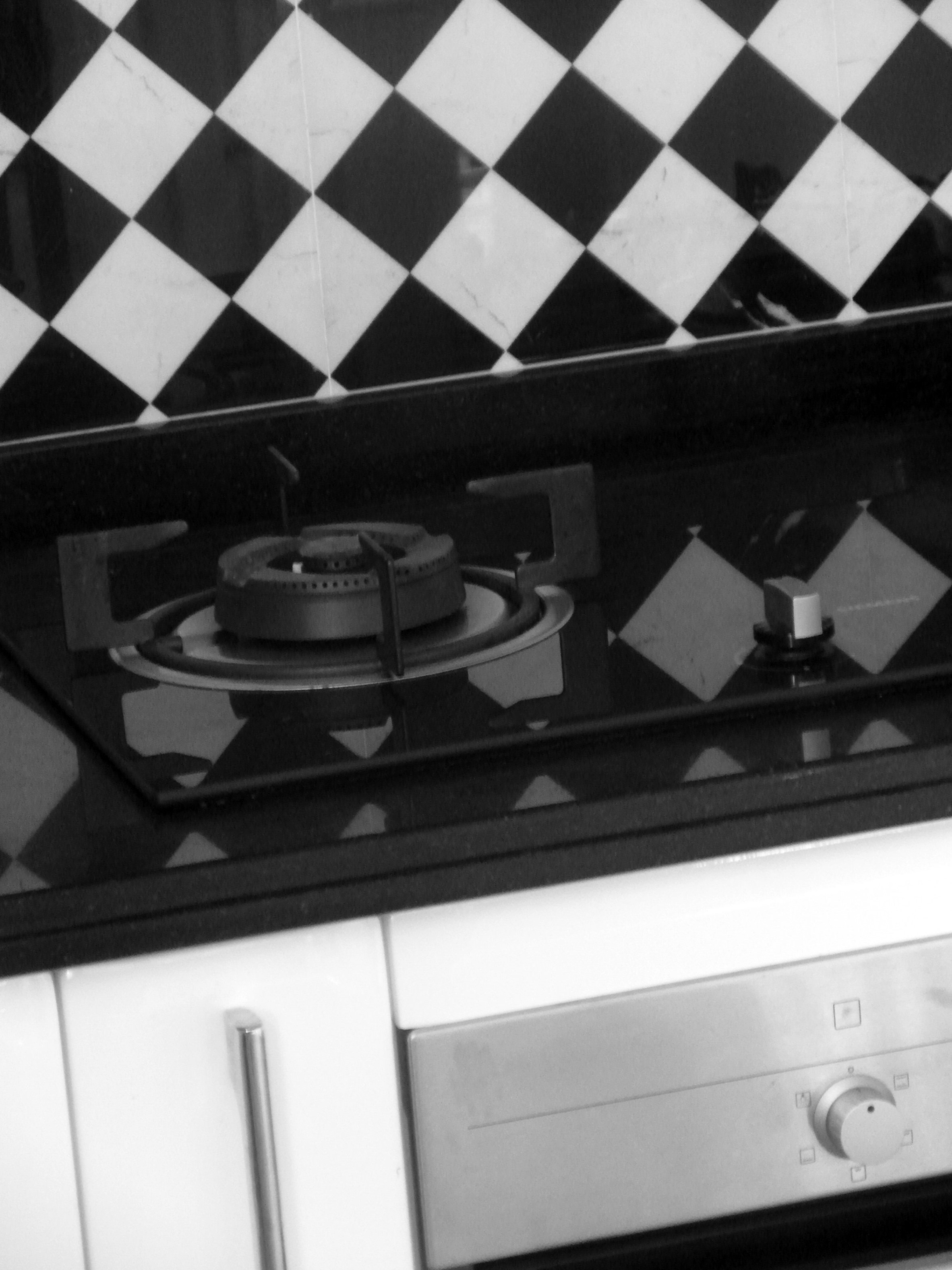 Modern Kitchen Hob, And, Marble, White, Tiles, HQ Photo