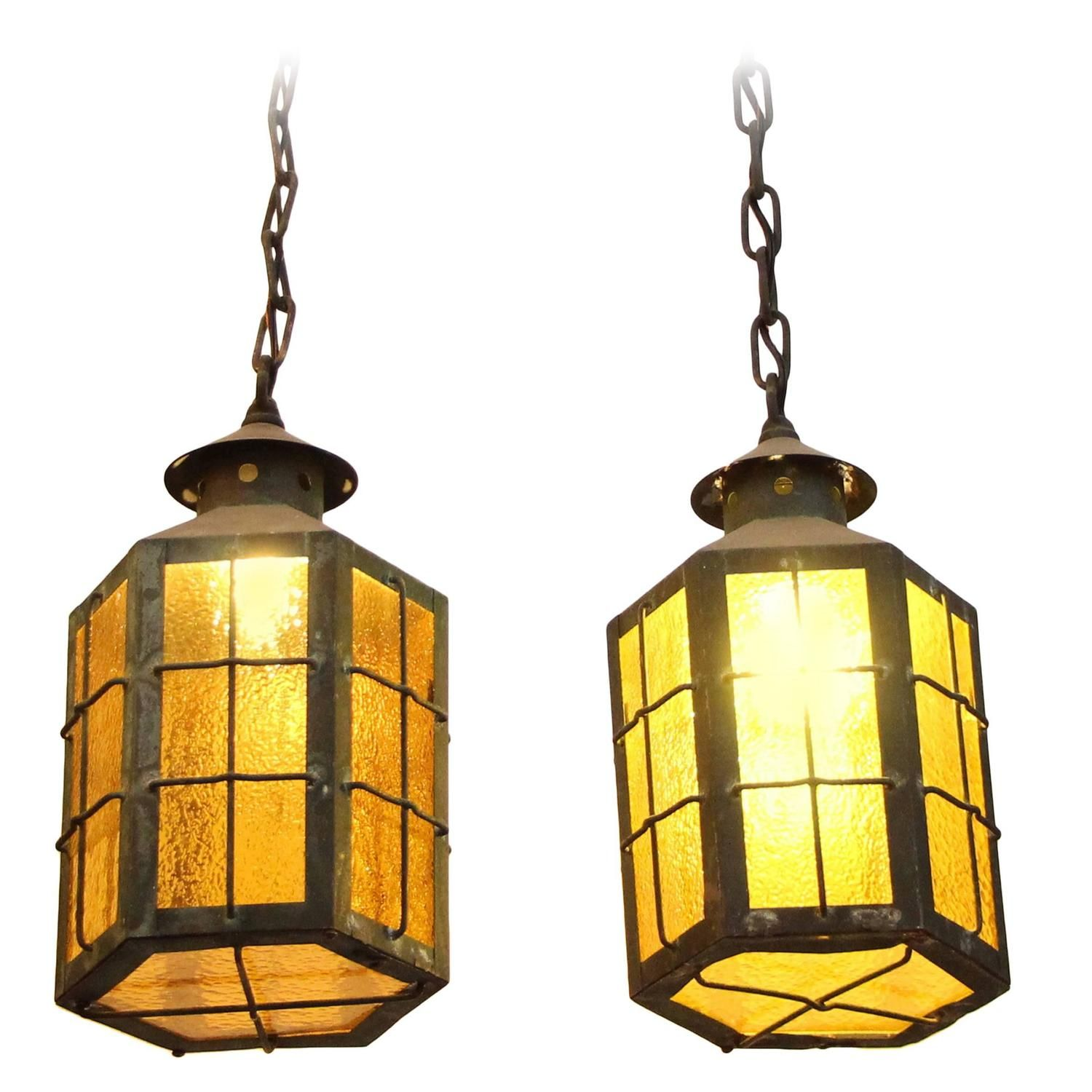 1930s Pair of Outdoor Copper Pendant Lanterns with Textured Amber ...