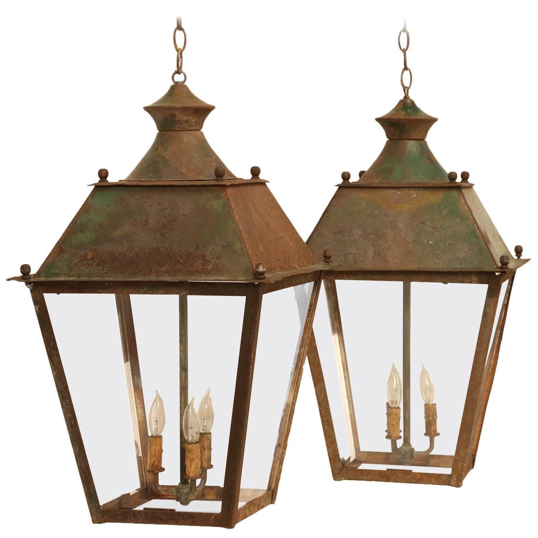French Hanging Lanterns in Original Paint | Hanging lanterns, Modern ...