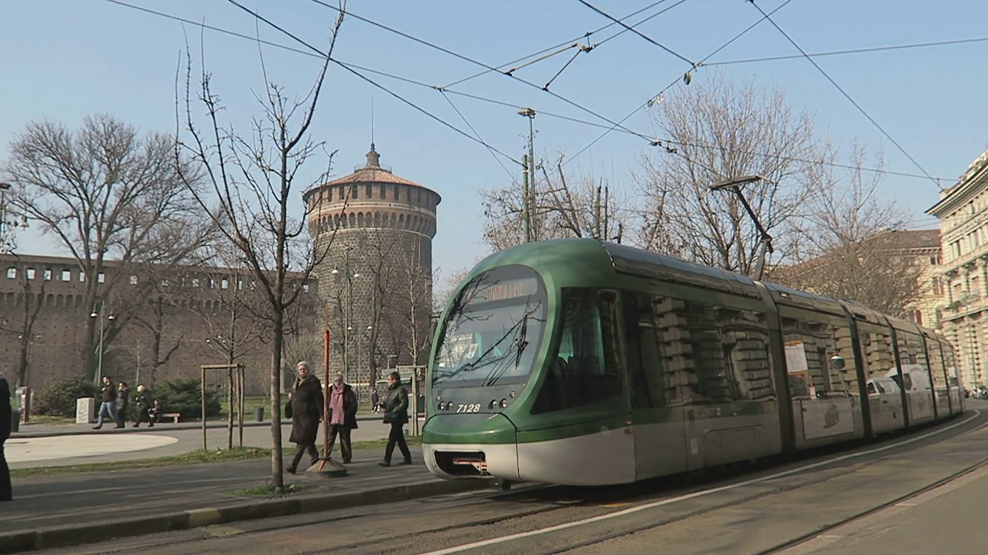 Milan, Italy modern tram on the streets of Milano. Milan tramway ...
