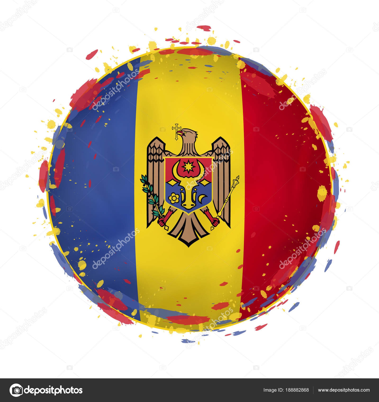 Round grunge flag of Moldova with splashes in flag color. — Stock ...
