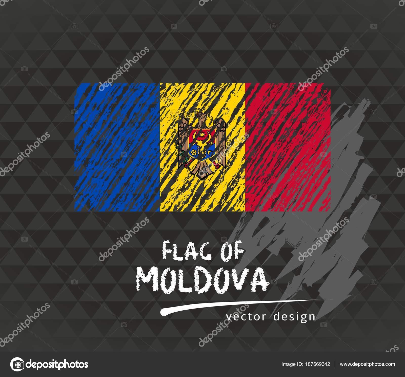 Moldova Flag Vector Sketch Hand Drawn Illustration Dark Grunge ...