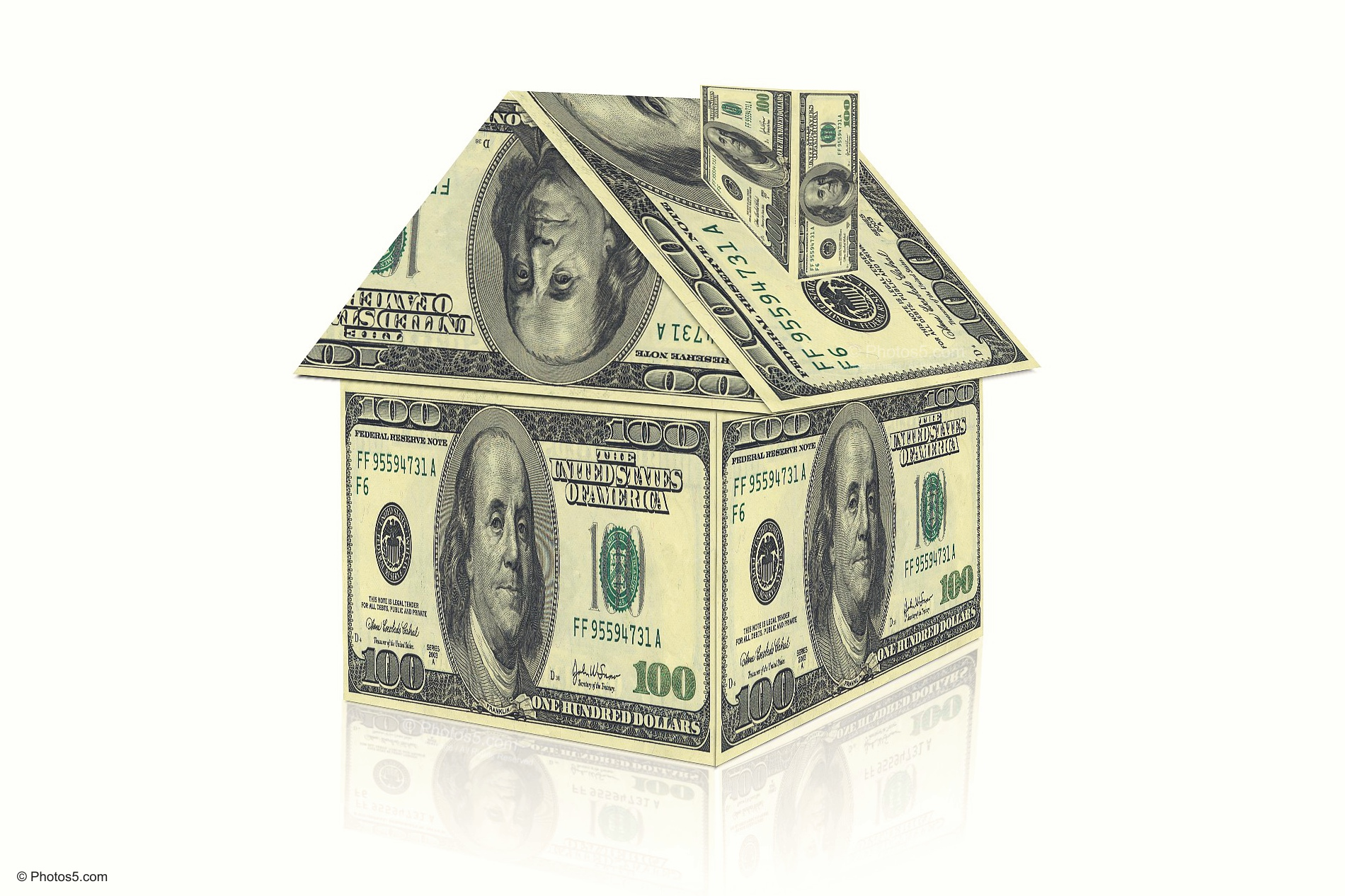 House Created with Dollars Money Cocnept Design on White Background ...