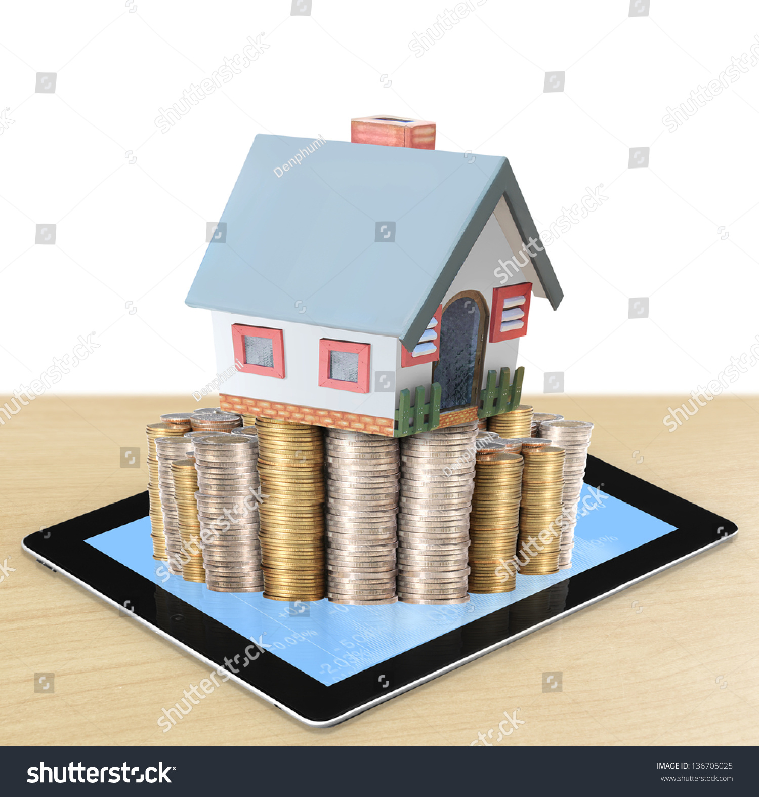 Mortgage Concept By Money House Coins Stock Illustration 136705025 ...