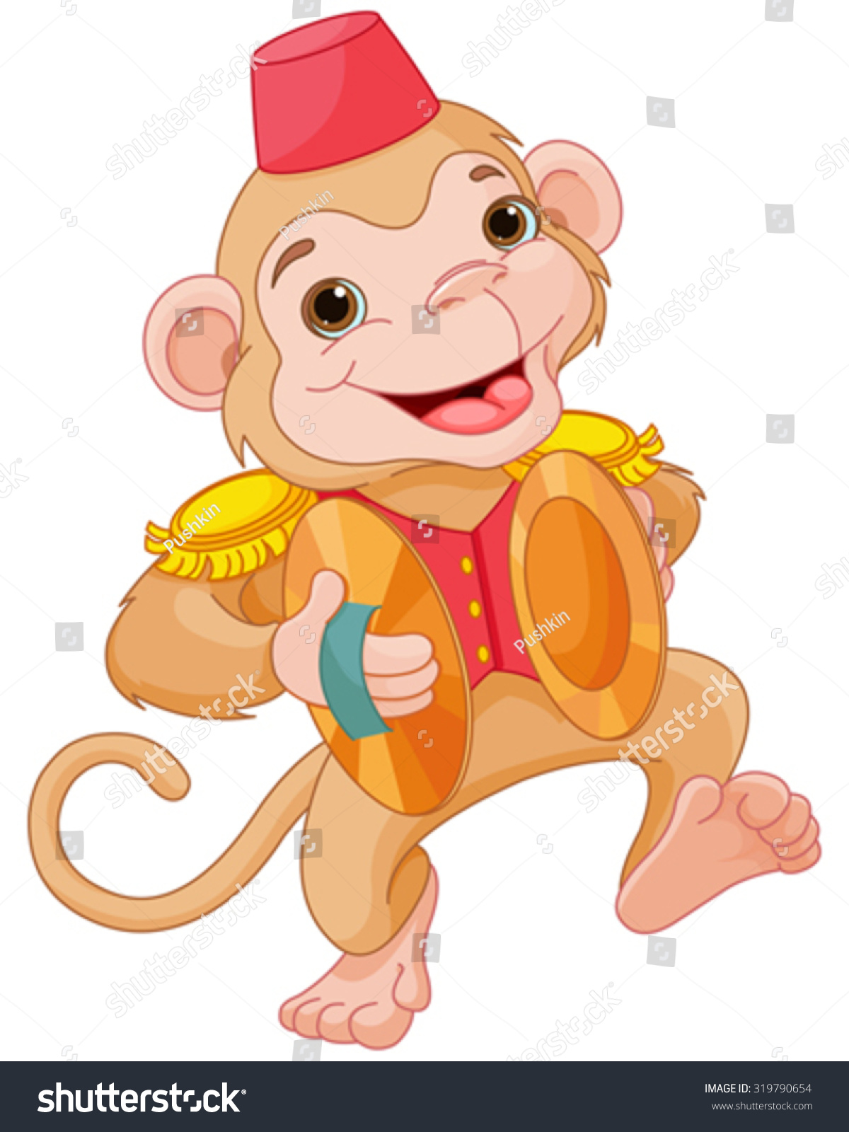 Illustration Cute Monkey Playing Percussion Hand Stock Vector ...
