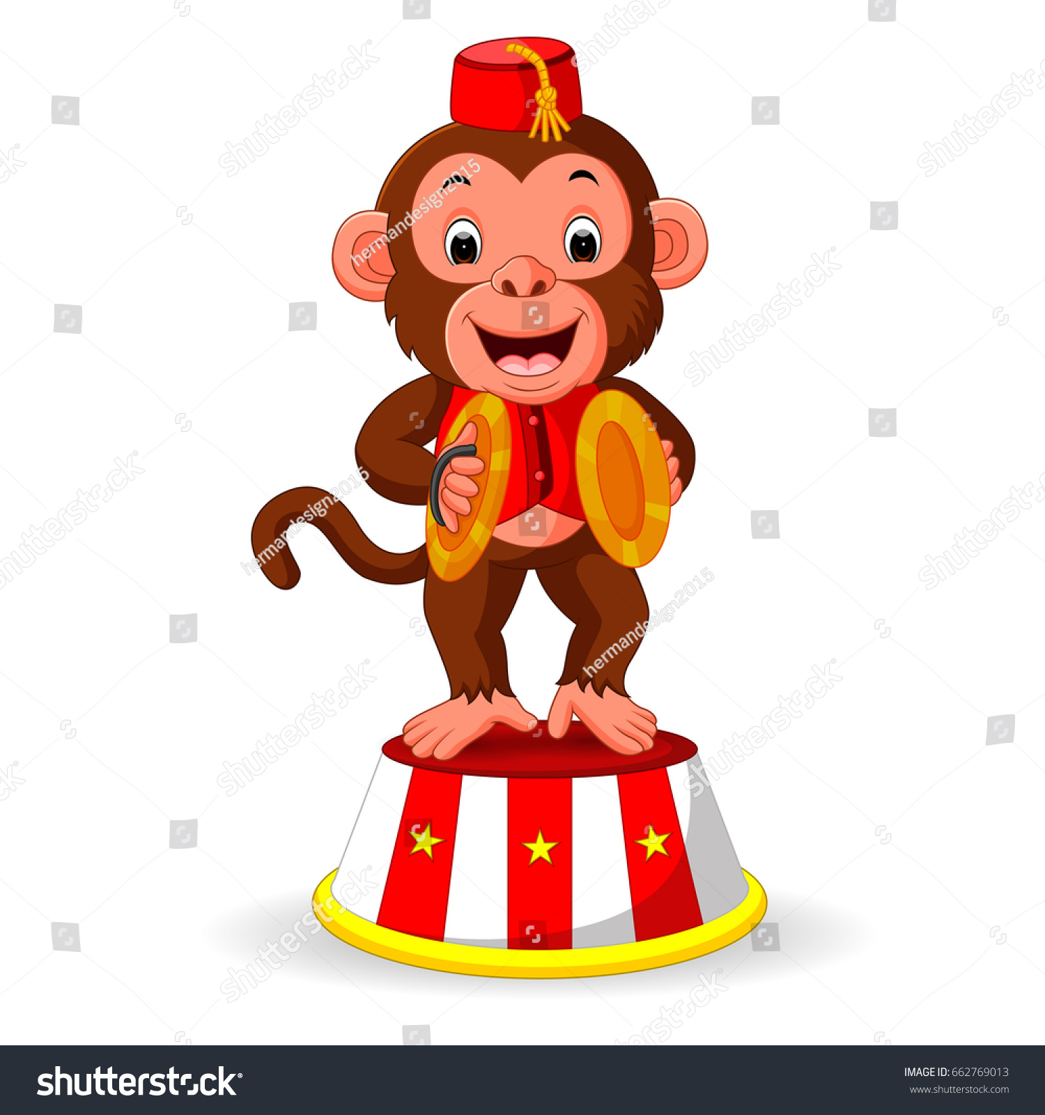 Cute Monkey Playing Percussion Hand Cymbals Stock Illustration ...