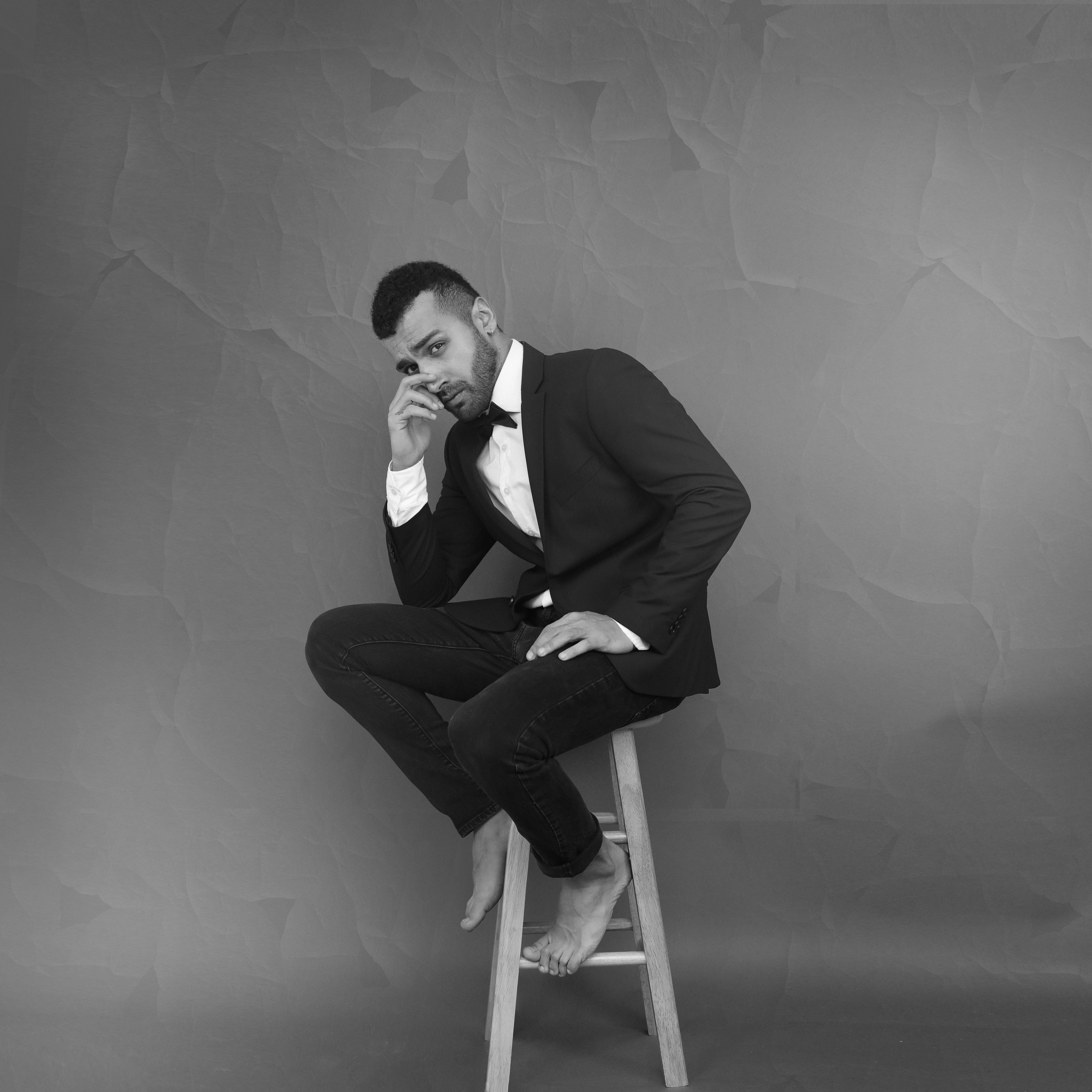 Monochrome Photography of Guy Sitting on Chair, Adult, Man, Suit, Stool, HQ Photo