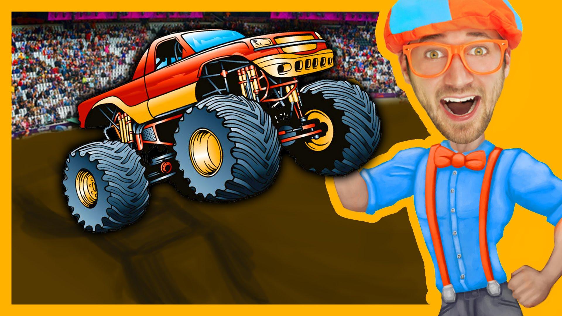 Monster Trucks with Blippi Toys | Monster truck Song for Kids - YouTube