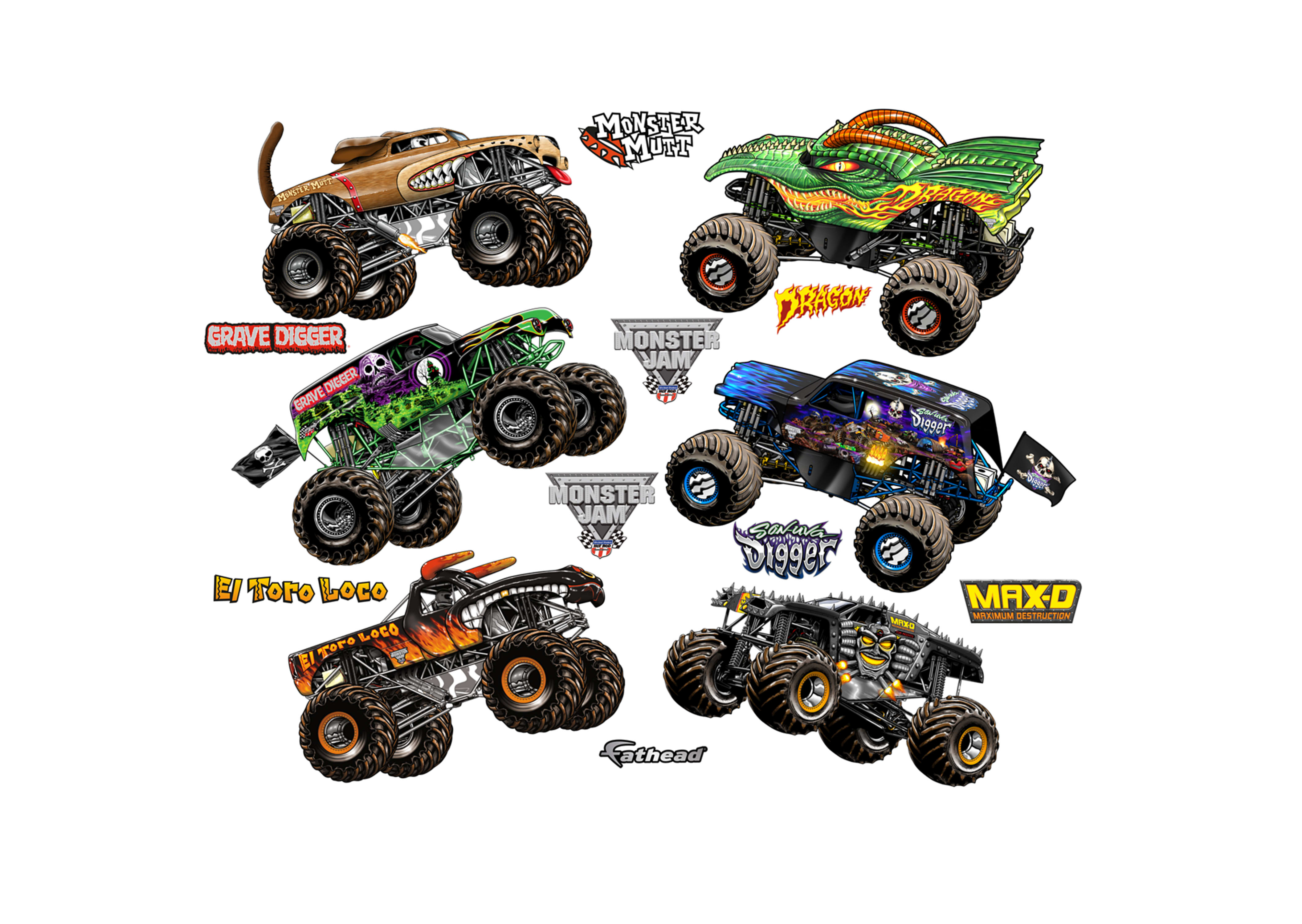 Cartoon Monster Jam Trucks Collection Wall Decal | Shop Fathead® for ...