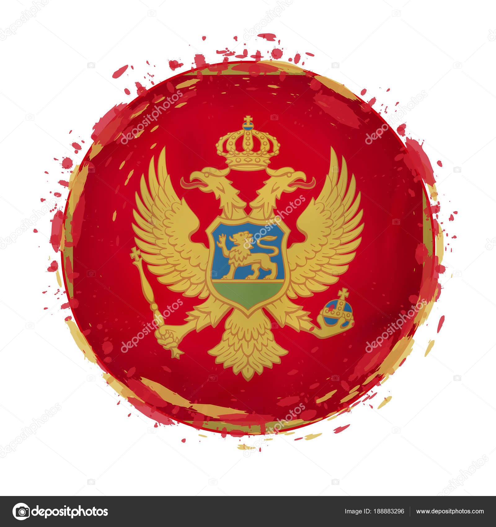 Round grunge flag of Montenegro with splashes in flag color. — Stock ...