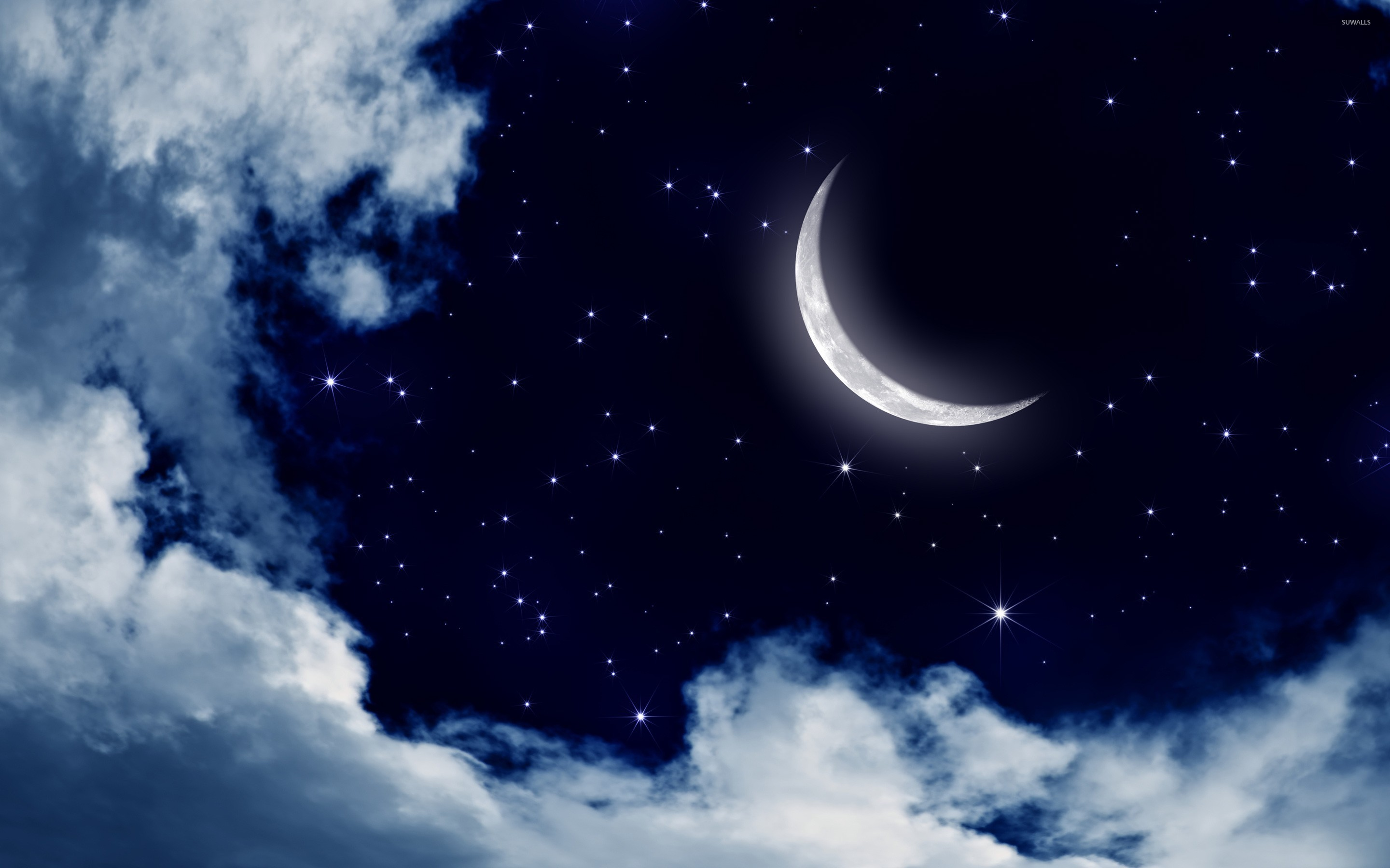 Moon and stars in the sky wallpaper - Digital Art wallpapers - #25176
