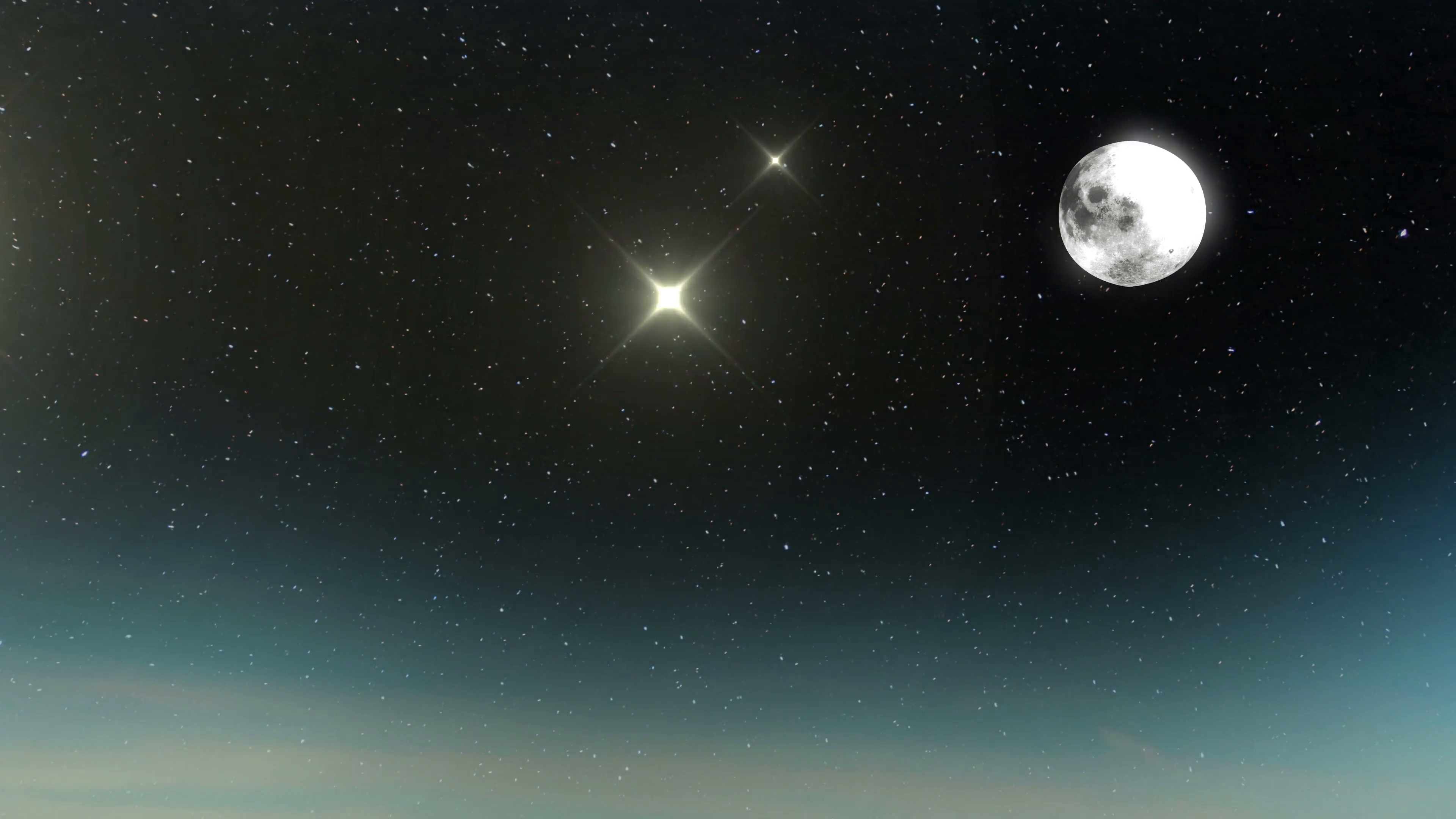 2332 Stars and Moon Flying on Night Sky, 4K Motion Background ...