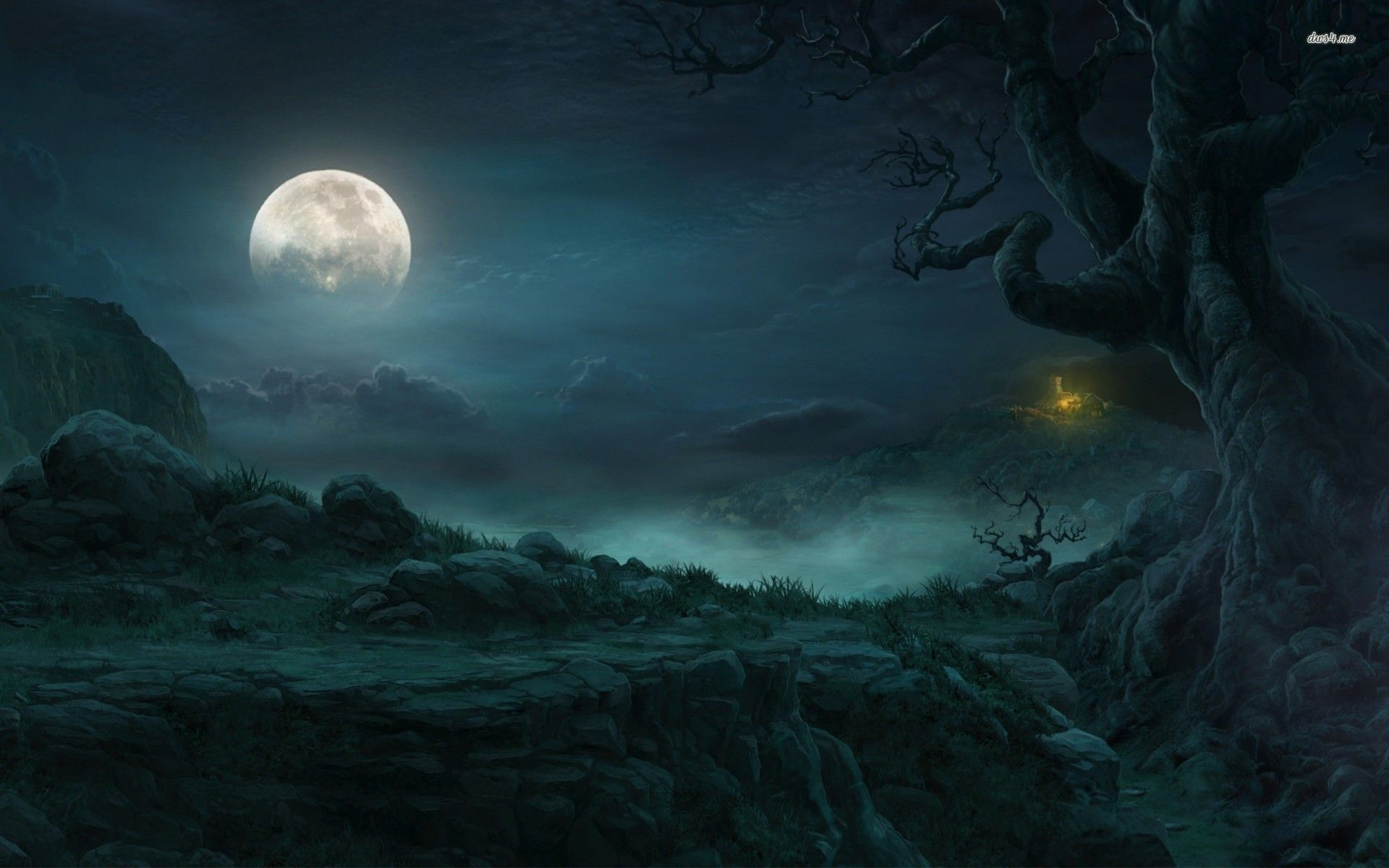 Moon forest fantasy photo