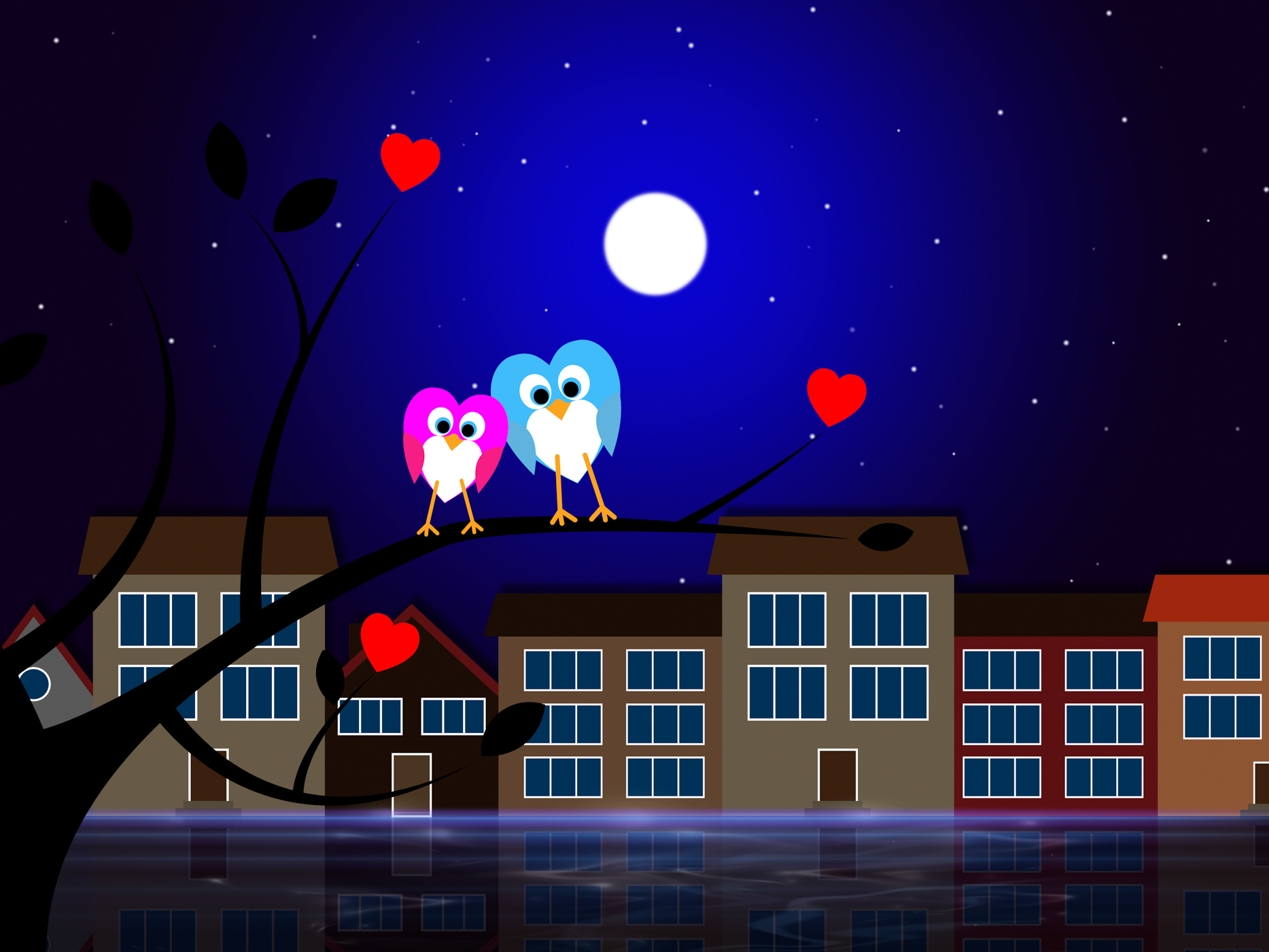 Moon owls represents night time and apartment photo