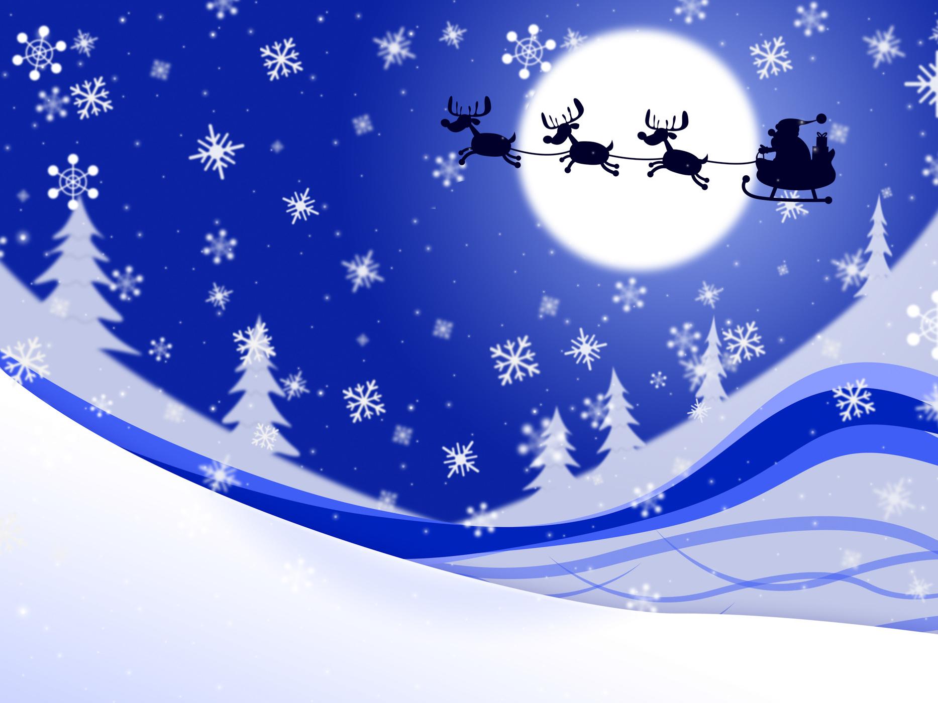 Moon xmas indicates father christmas and celebrate photo