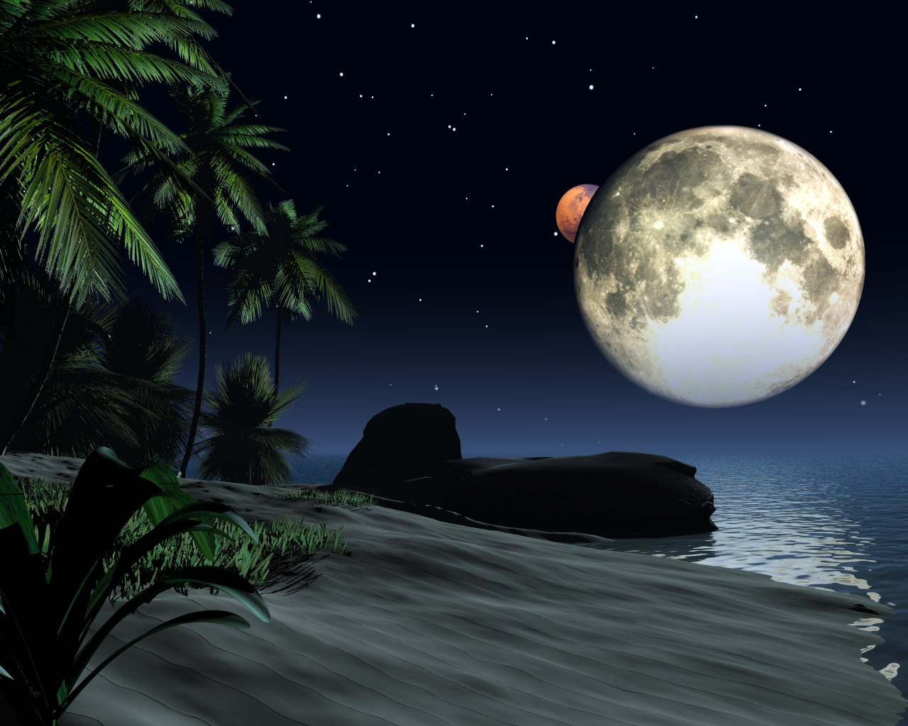 Moon, 3d, Abstract, Beach, Landscape, HQ Photo