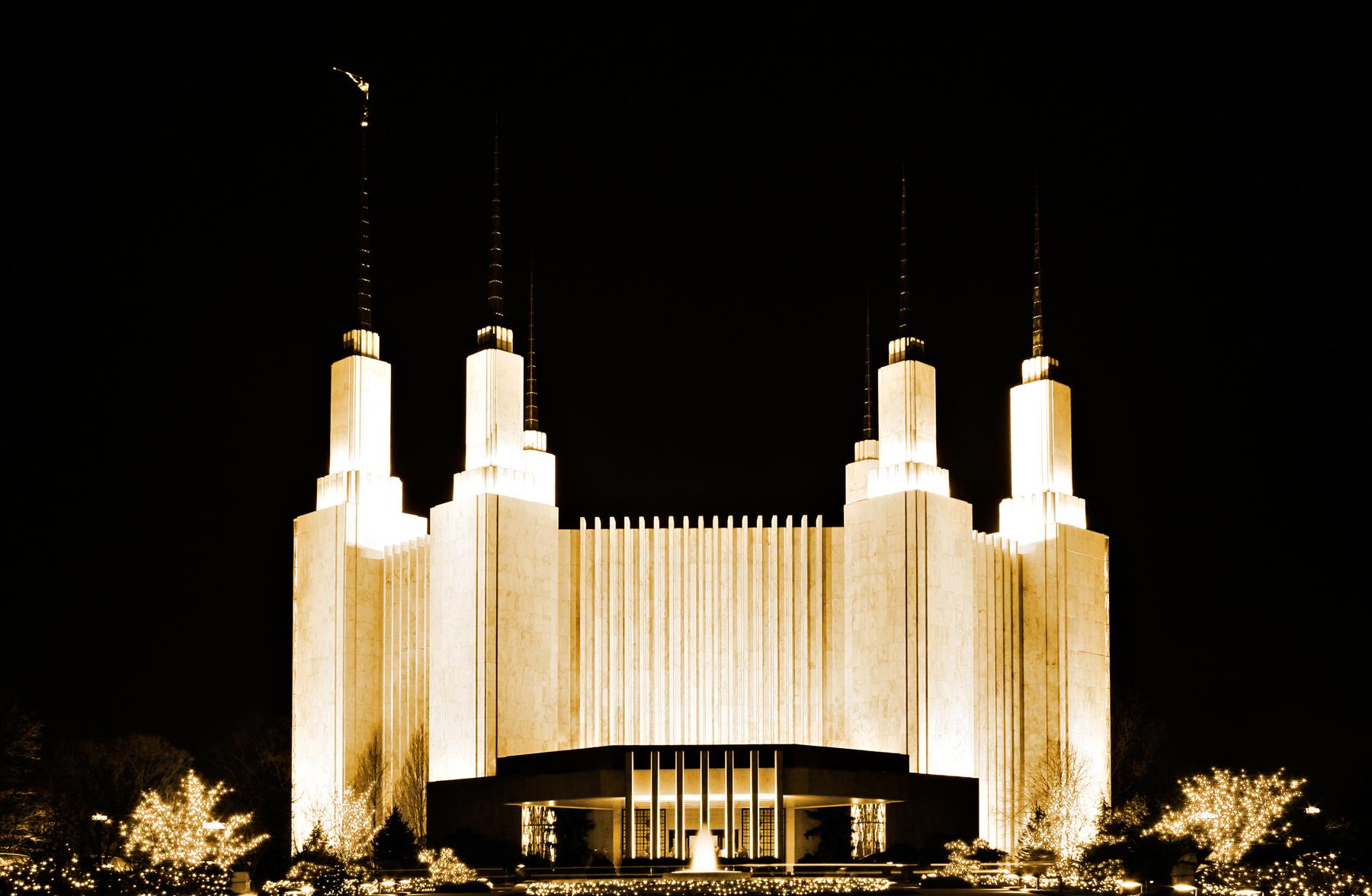 Mormon Temple, America, Somadjinn, Night, Photo, HQ Photo