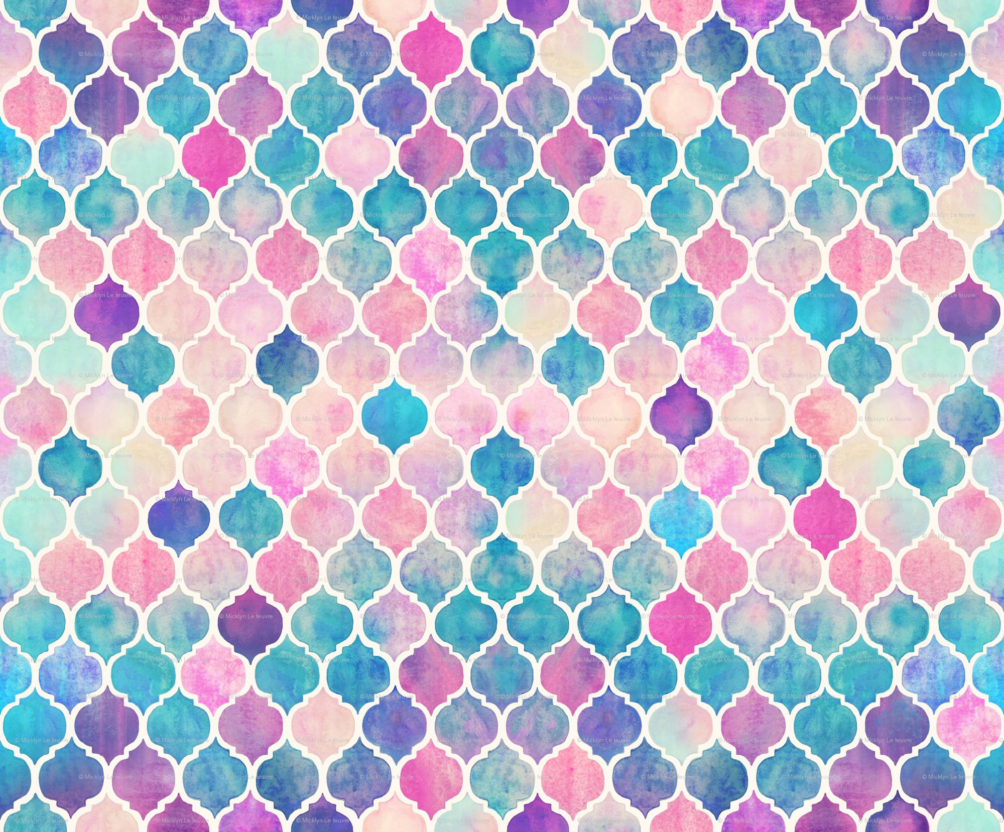 Rainbow Pastel Watercolor Moroccan Pattern wallpaper - micklyn ...