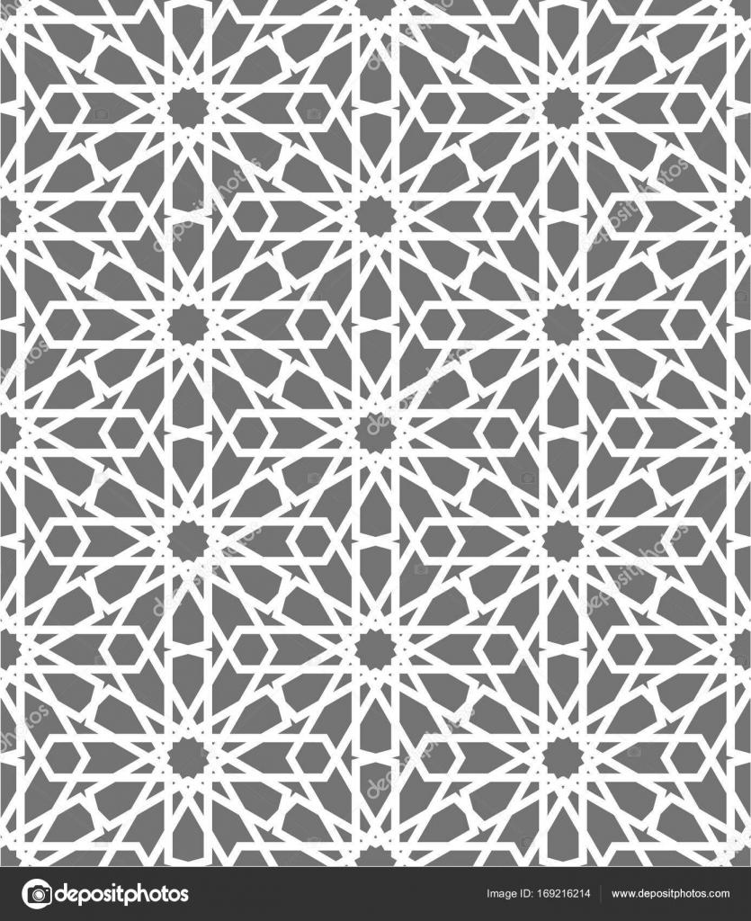 Islamic seamless vector pattern. White Geometric ornaments based on ...