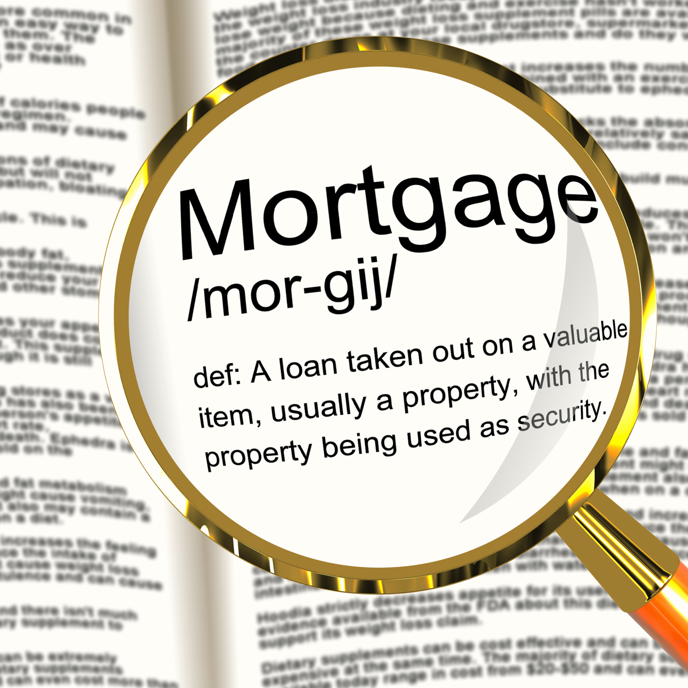 Mortgage Definition Magnifier Showing Property Or Real Estate Loan, Borrow, Loan, Residence, Realestate, HQ Photo