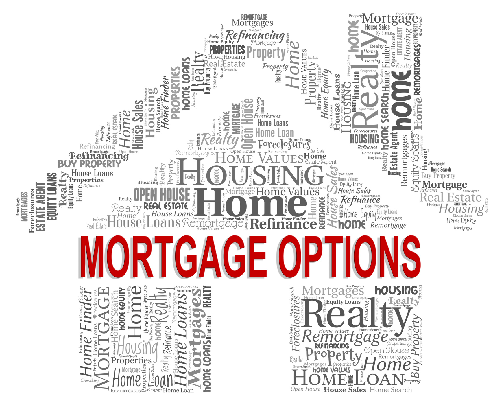 Mortgage options shows real estate and alternative photo