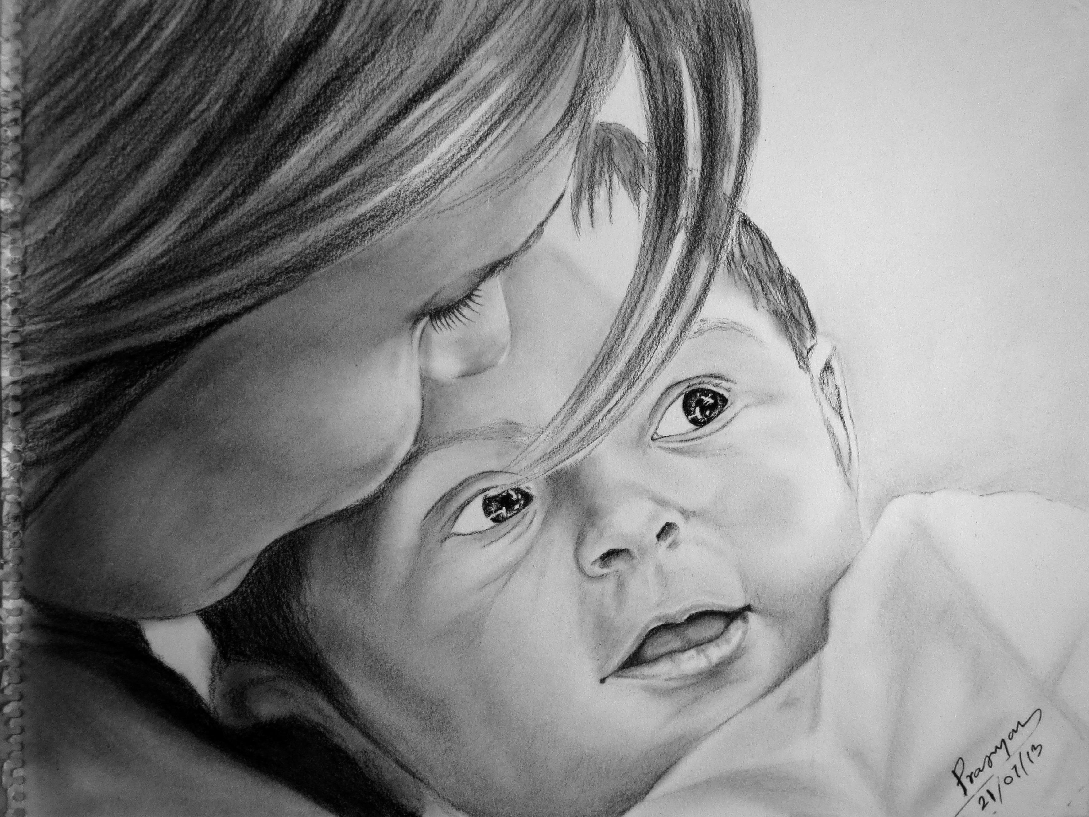 Buy Painting Mothers Love Artwork No 7091 by Indian Artist Pragyan ...