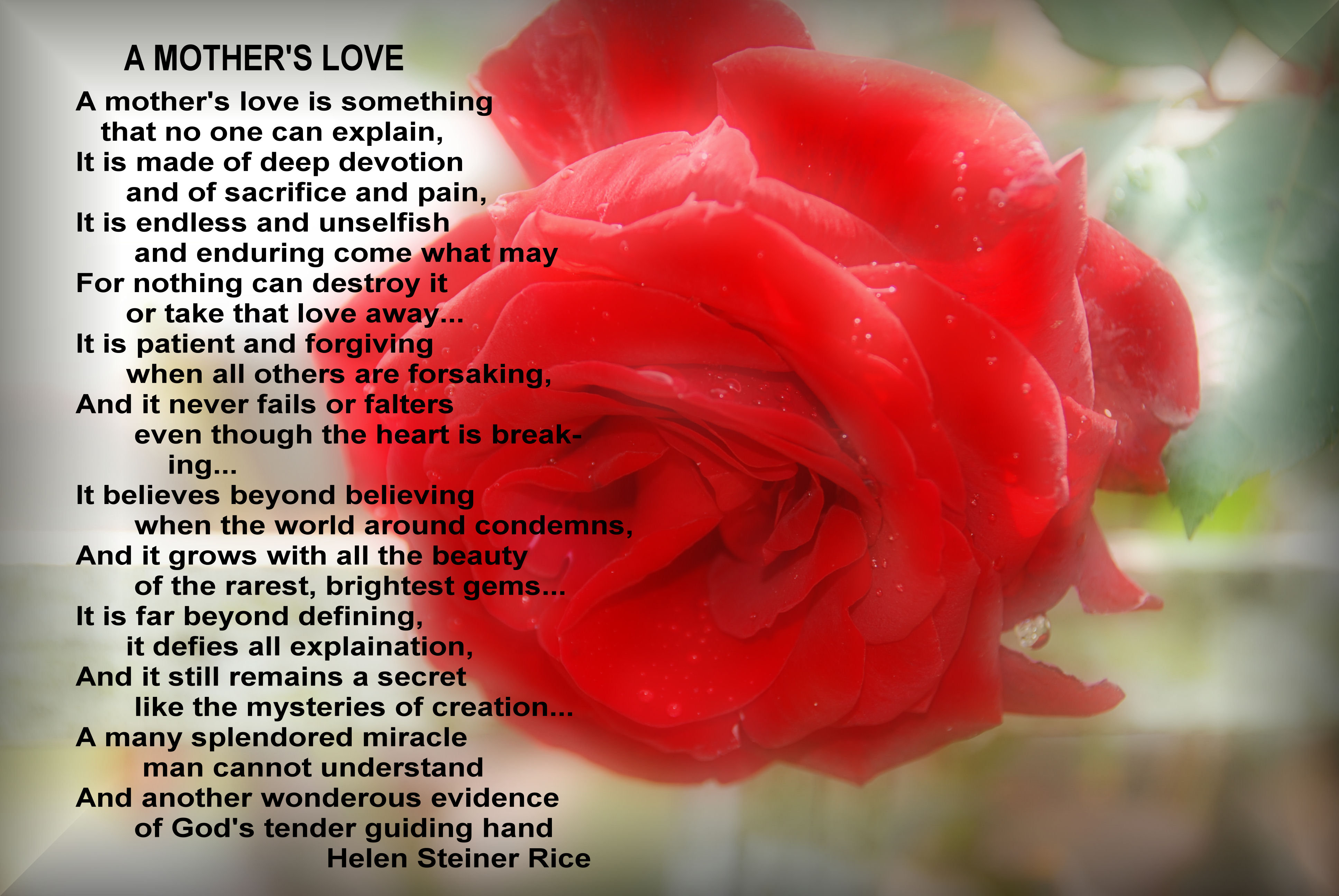 HAPPY MOTHER'S DAY! Poem, 'A MOTHER'S LOVE' by Helen Steiner Rice ...