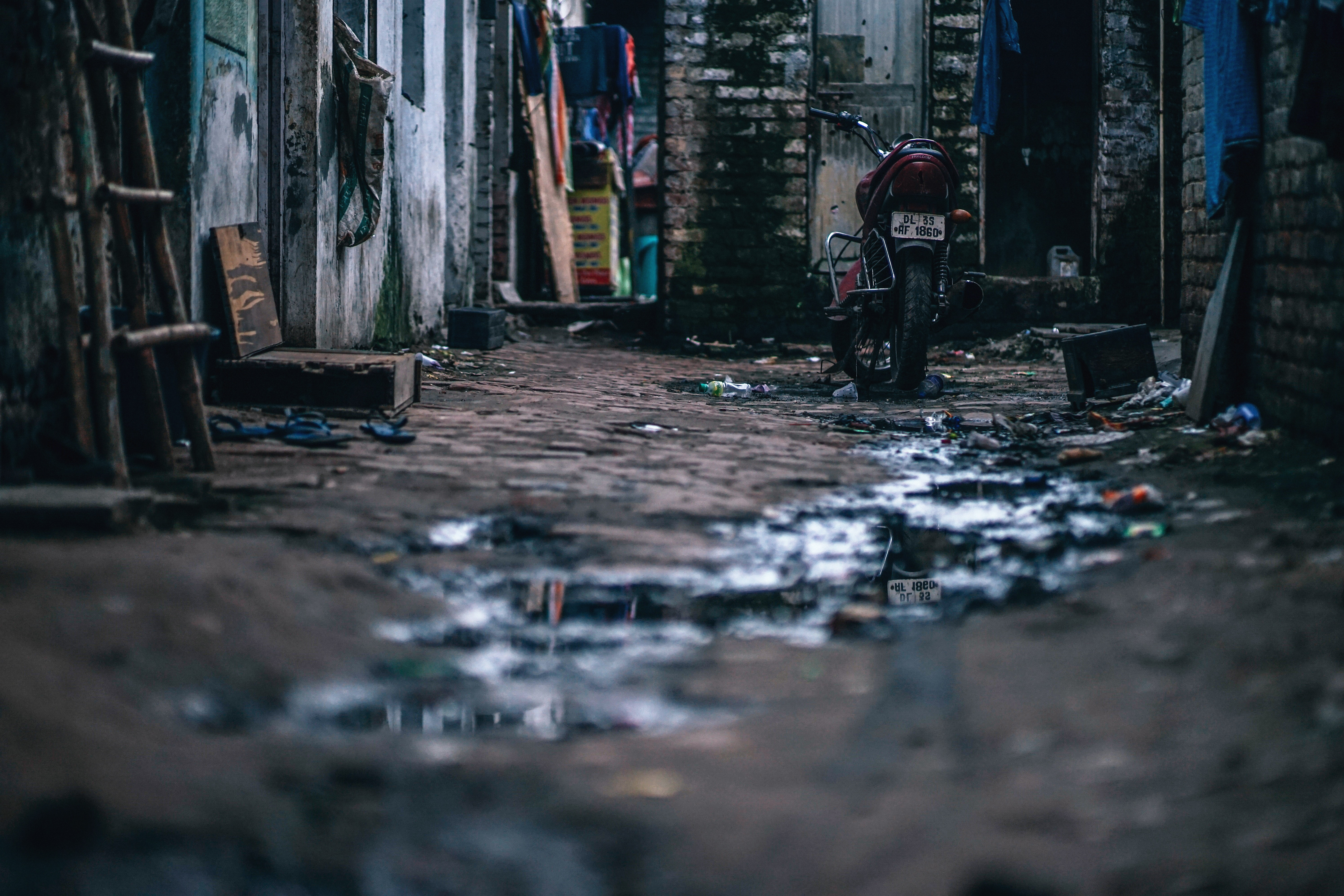 Motorcycle in the Middle of Street, Alley, Parked, Water, Waste, HQ Photo
