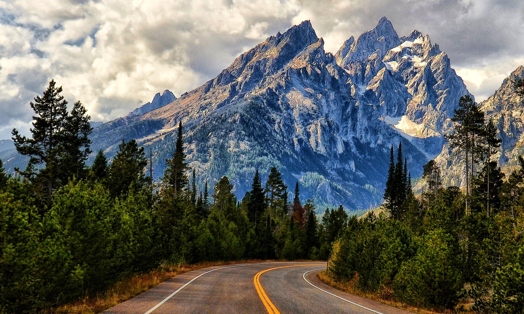 Mountains: Grass Road Clouds Forest Beautiful Snowy Mountains Peaks ...