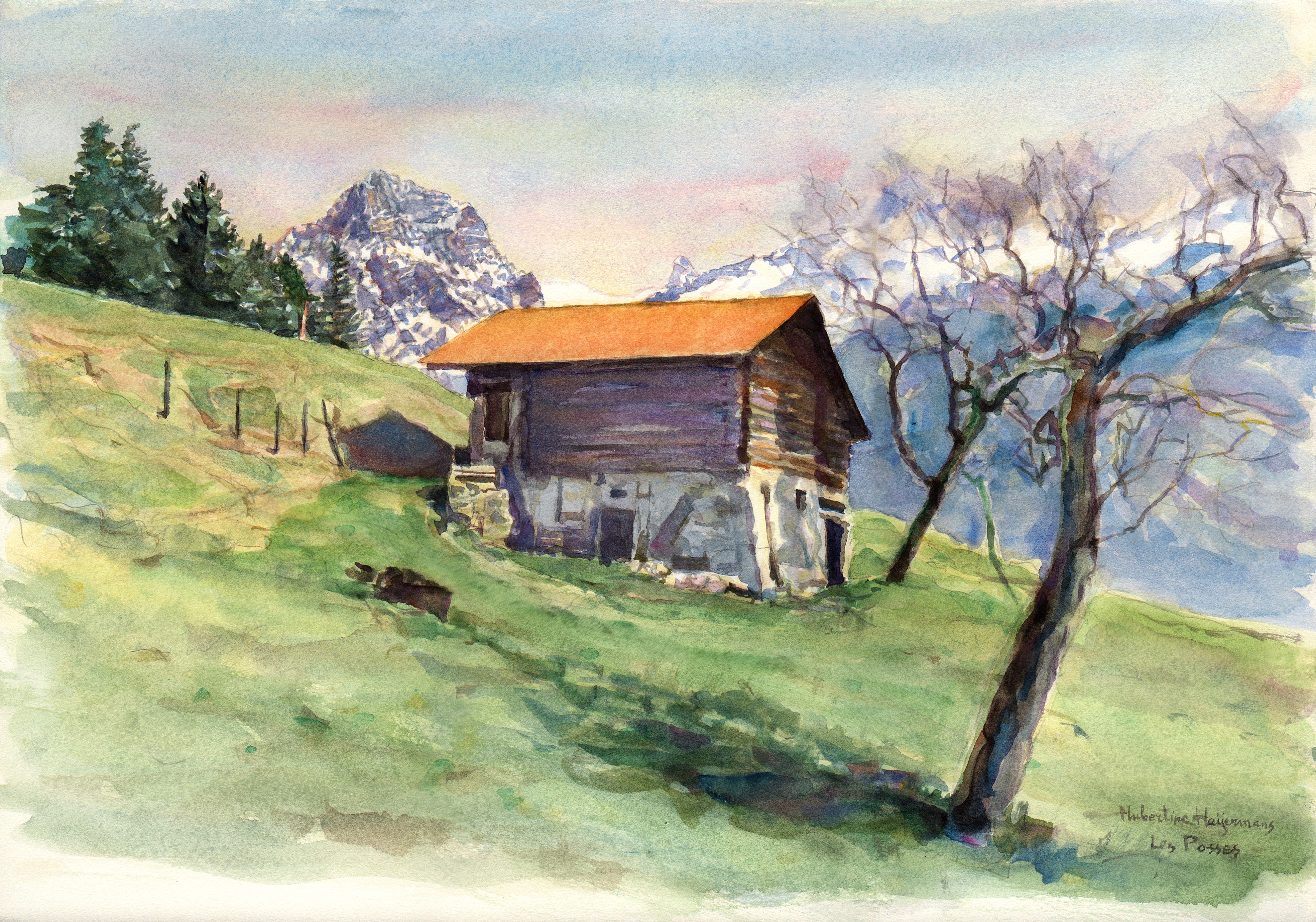 Mountain barn at 'Les Posses' above Gryon - watercolor 38x54cm 2003, Air, Meadow, Watercolor, Trees, HQ Photo