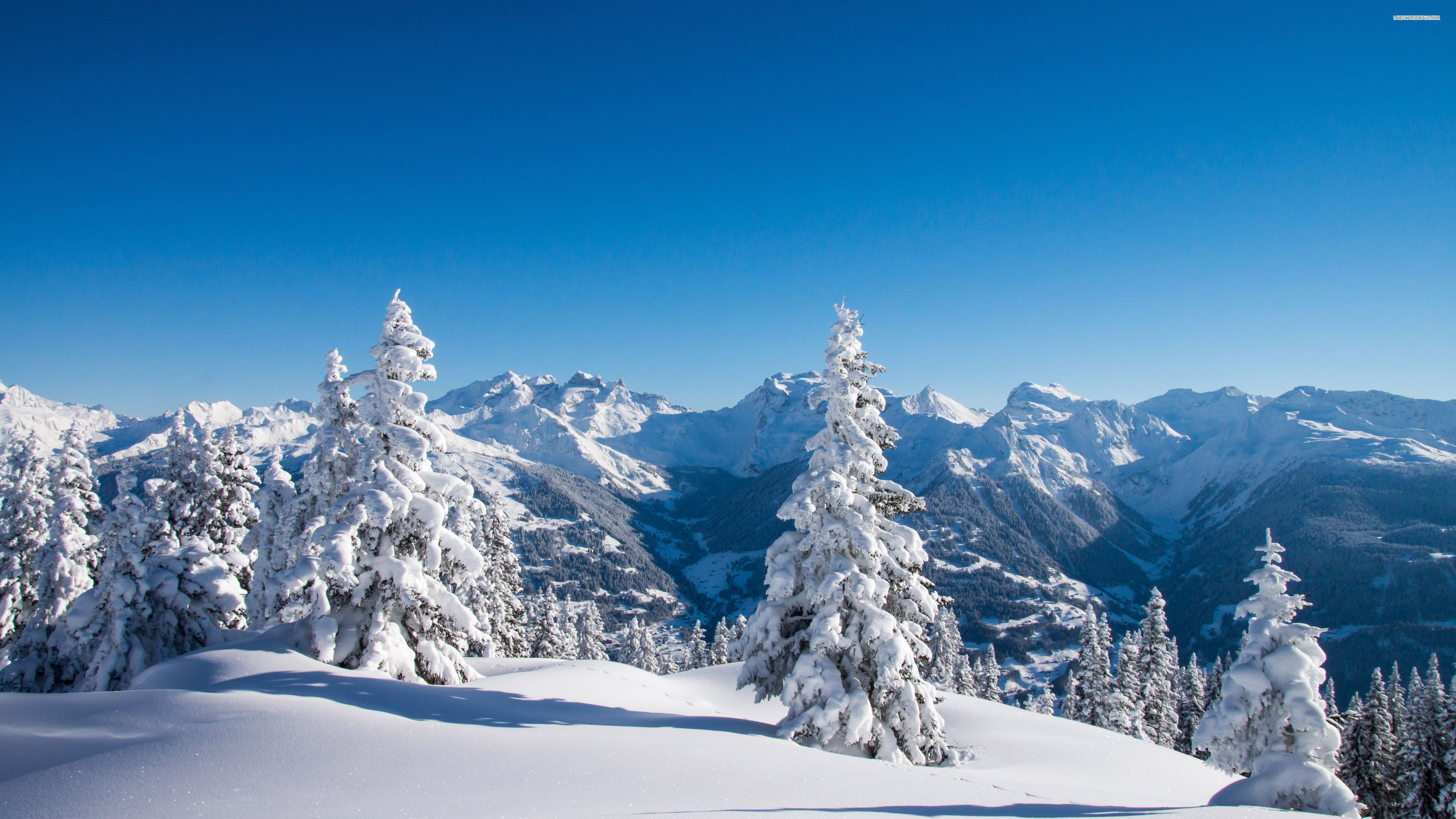 Beautiful View Over The Mountains In Winter - WallDevil