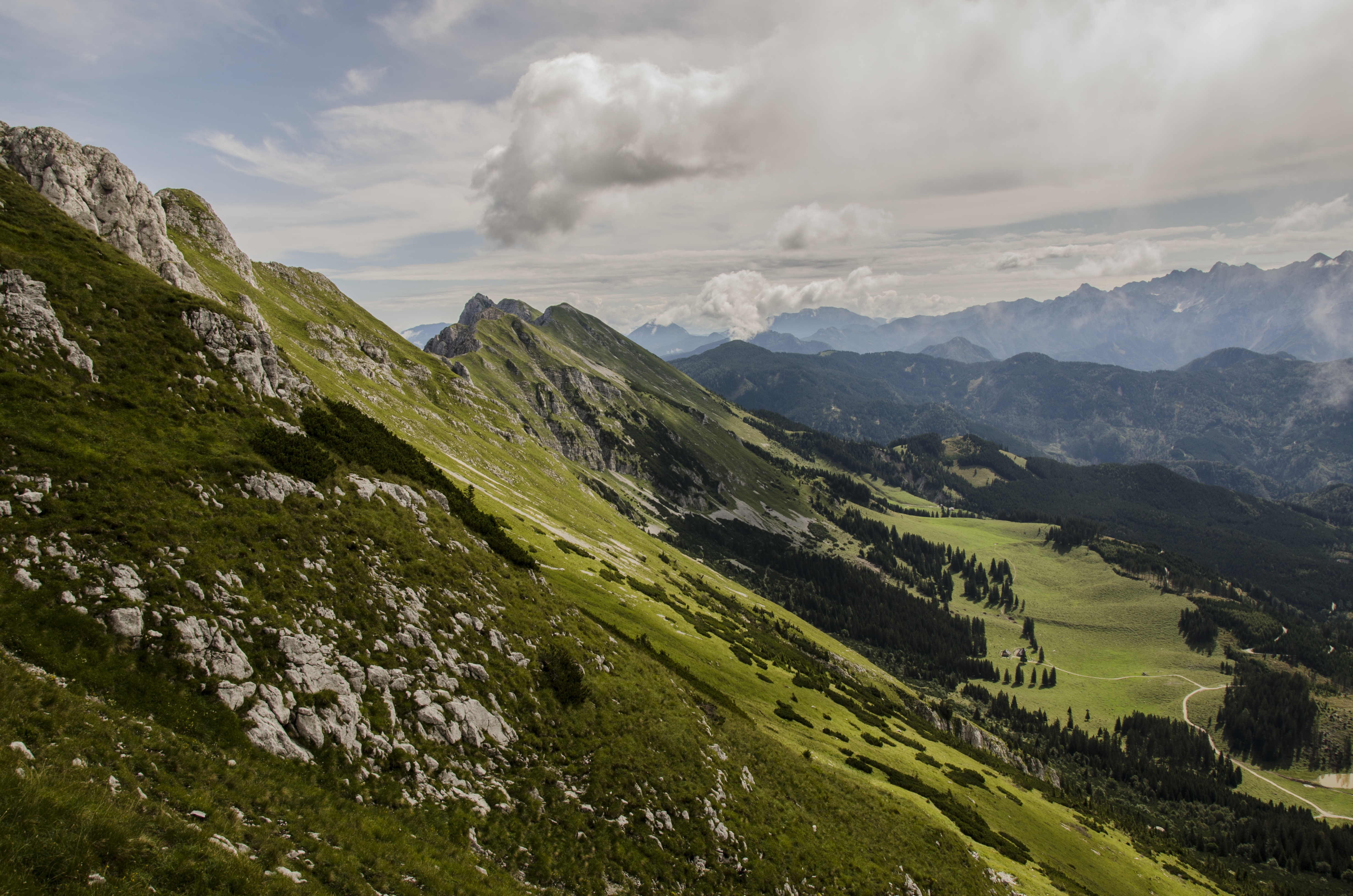 Mountain Landscape, Cloud, Cloudy, Green, Height, HQ Photo