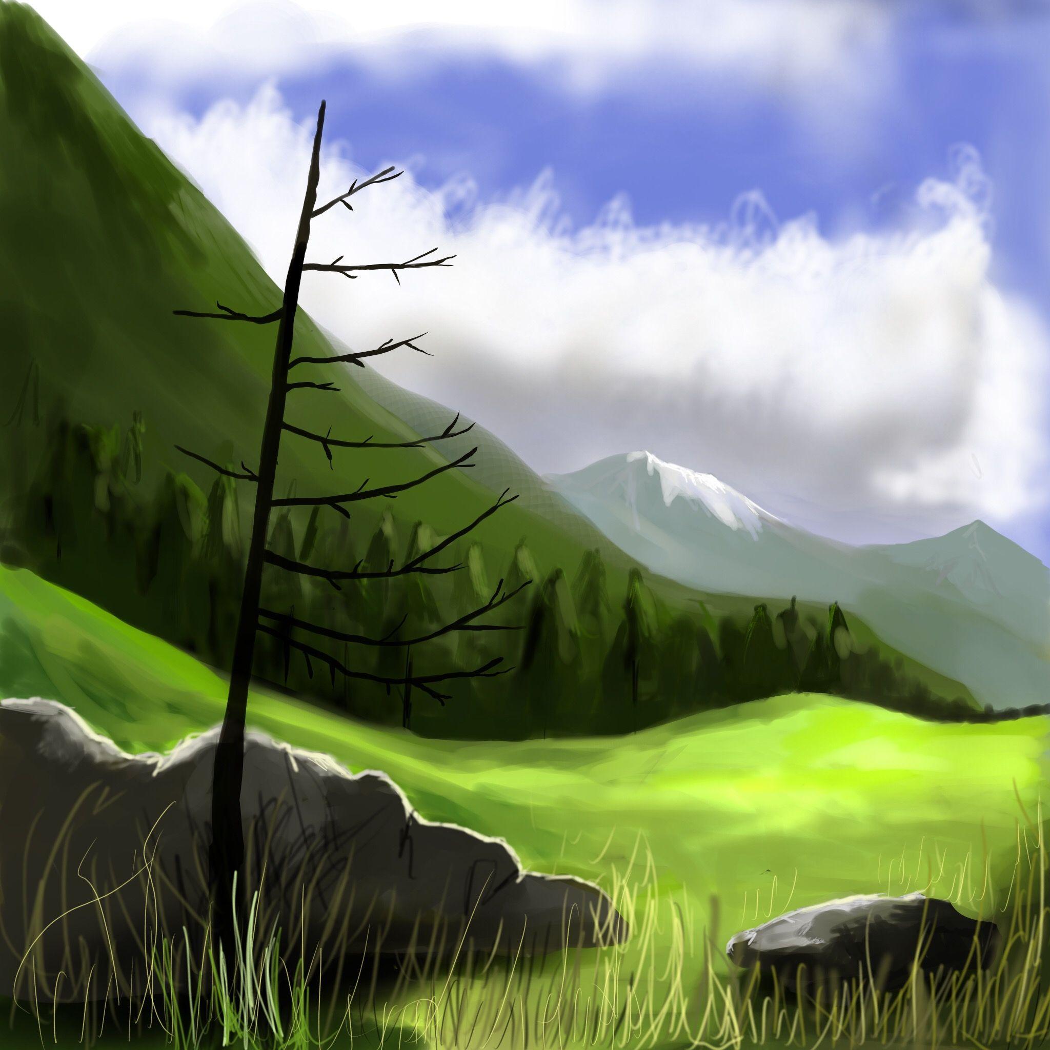 Drawing: mountain landscape — Steemit