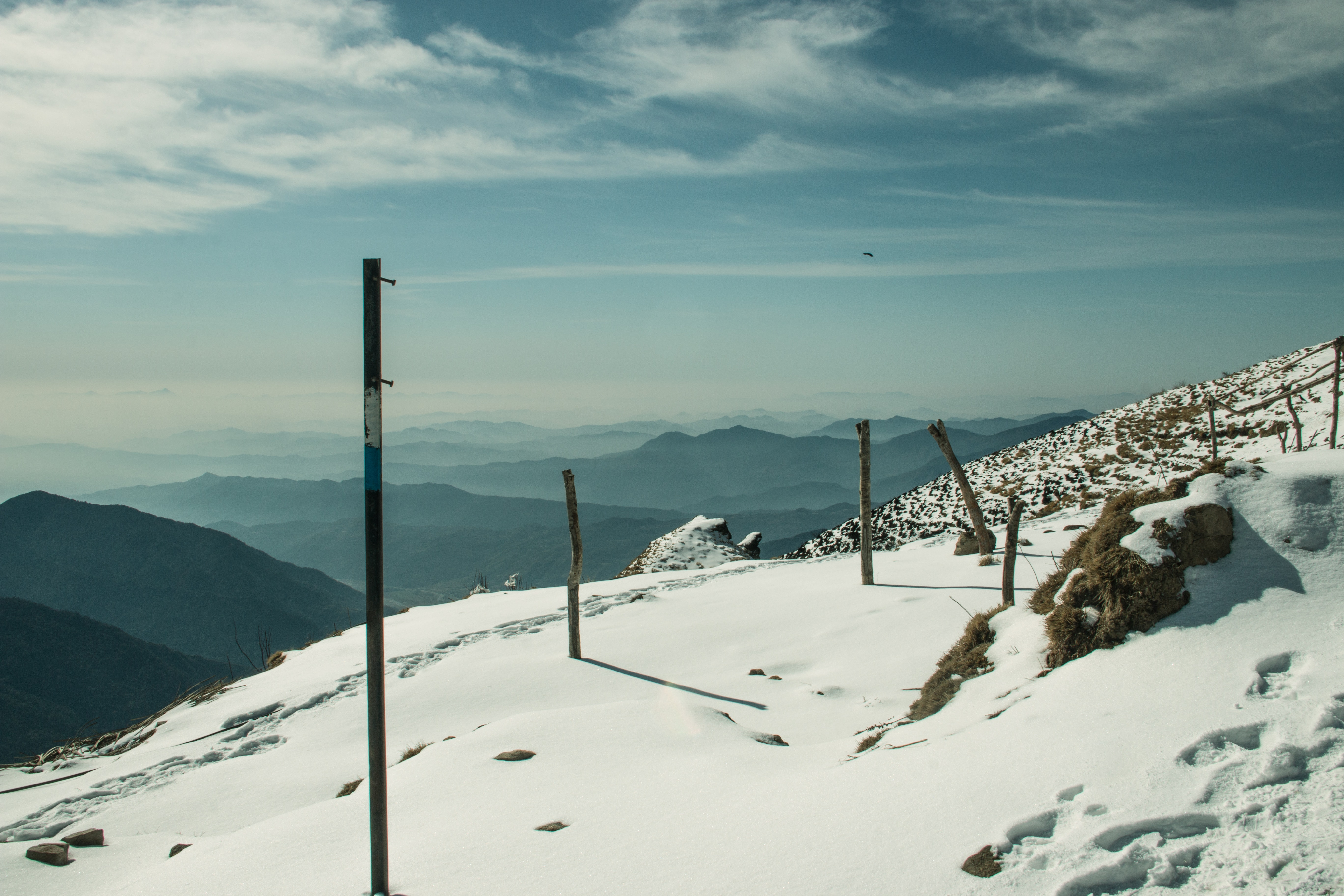 Mountain Trail Covered by Snow, Altitude, Nature, Winter, Weather, HQ Photo