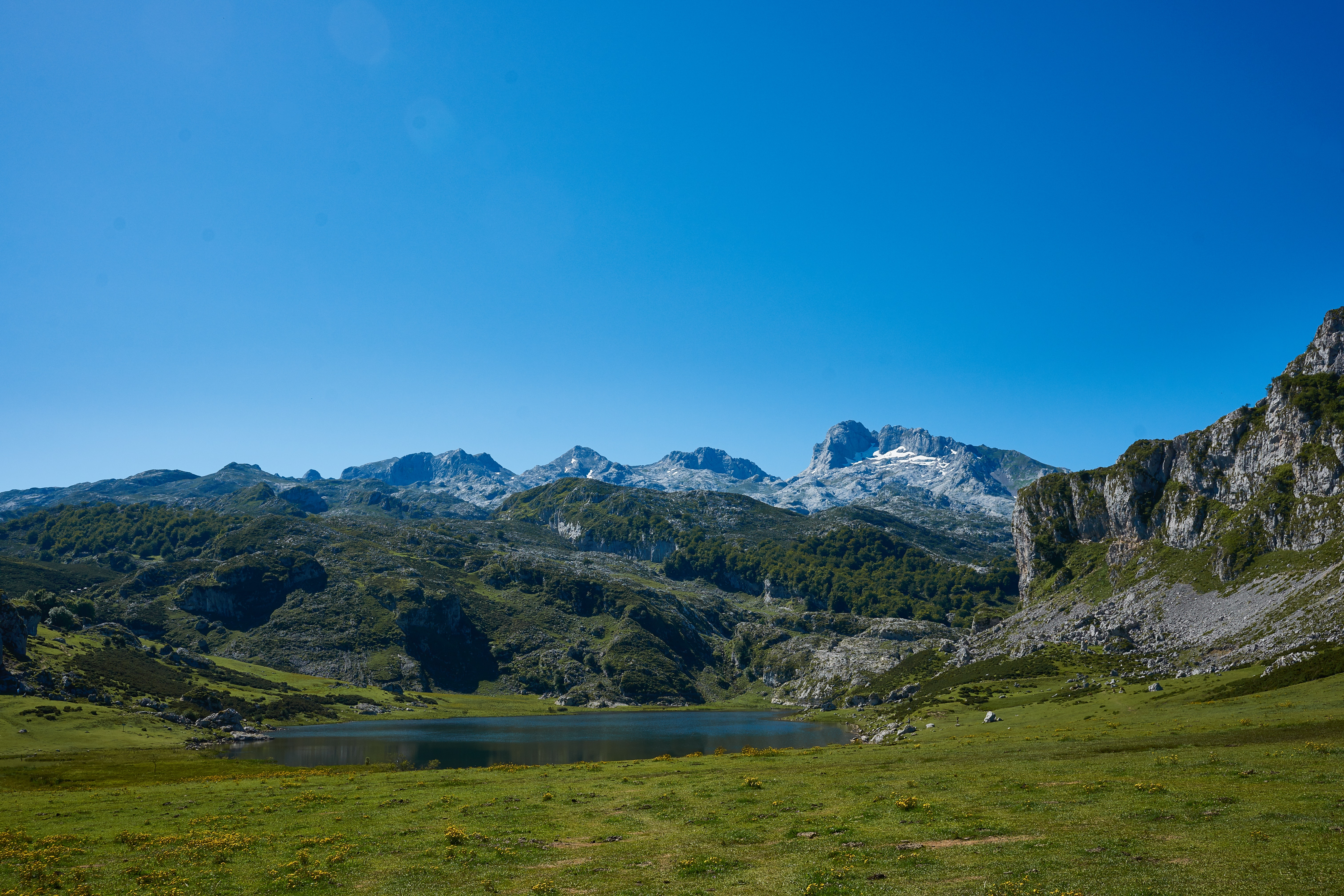 Mountain Under Blue Skies, Clouds, Outdoors, Water, Trees, HQ Photo