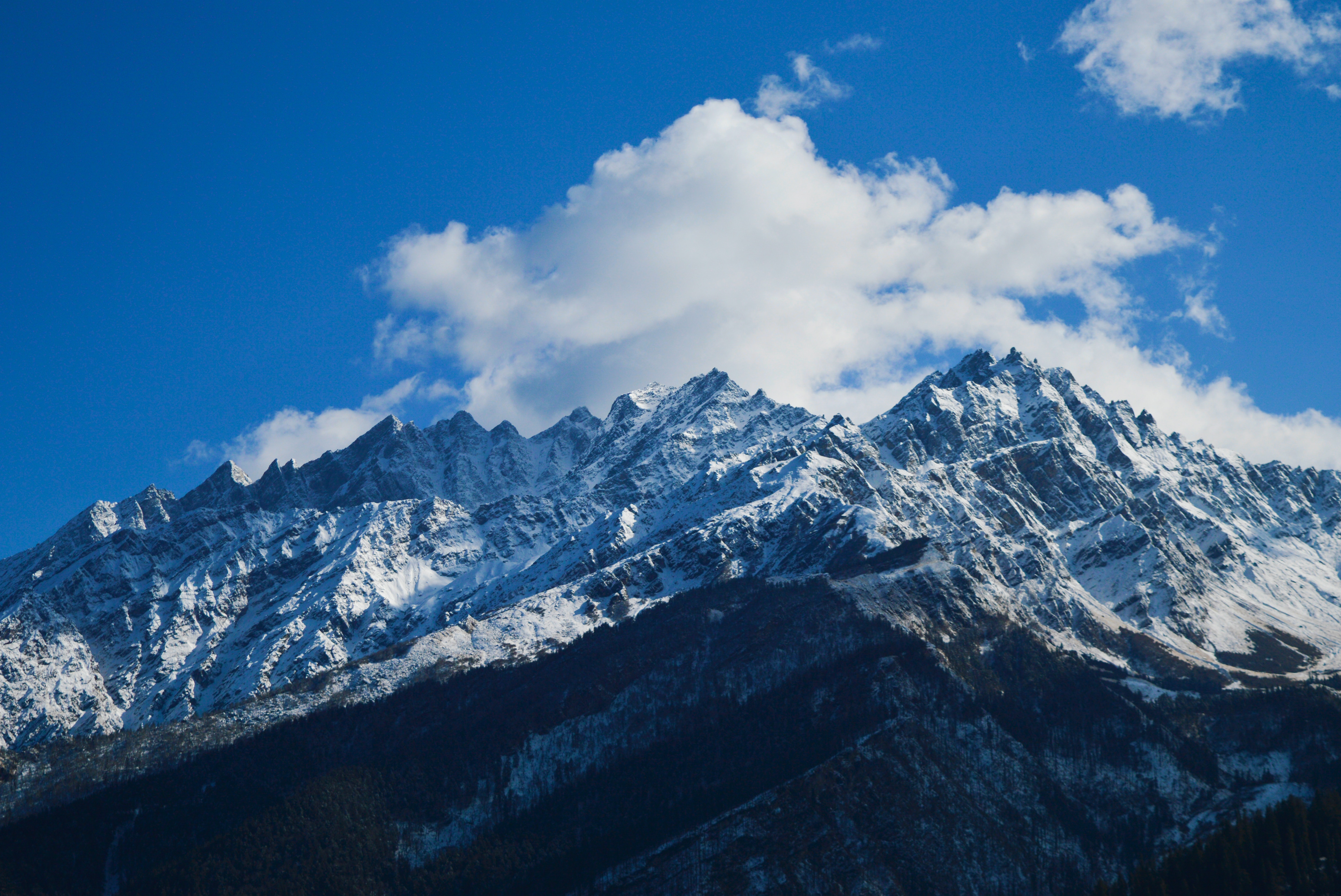 Mountain Under Blue Sky, Altitude, Nature, Winter, Wide angle photography, HQ Photo