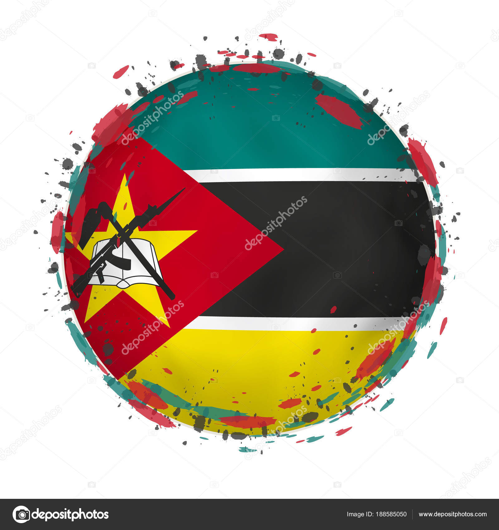 Mozambique grunge flag photo
