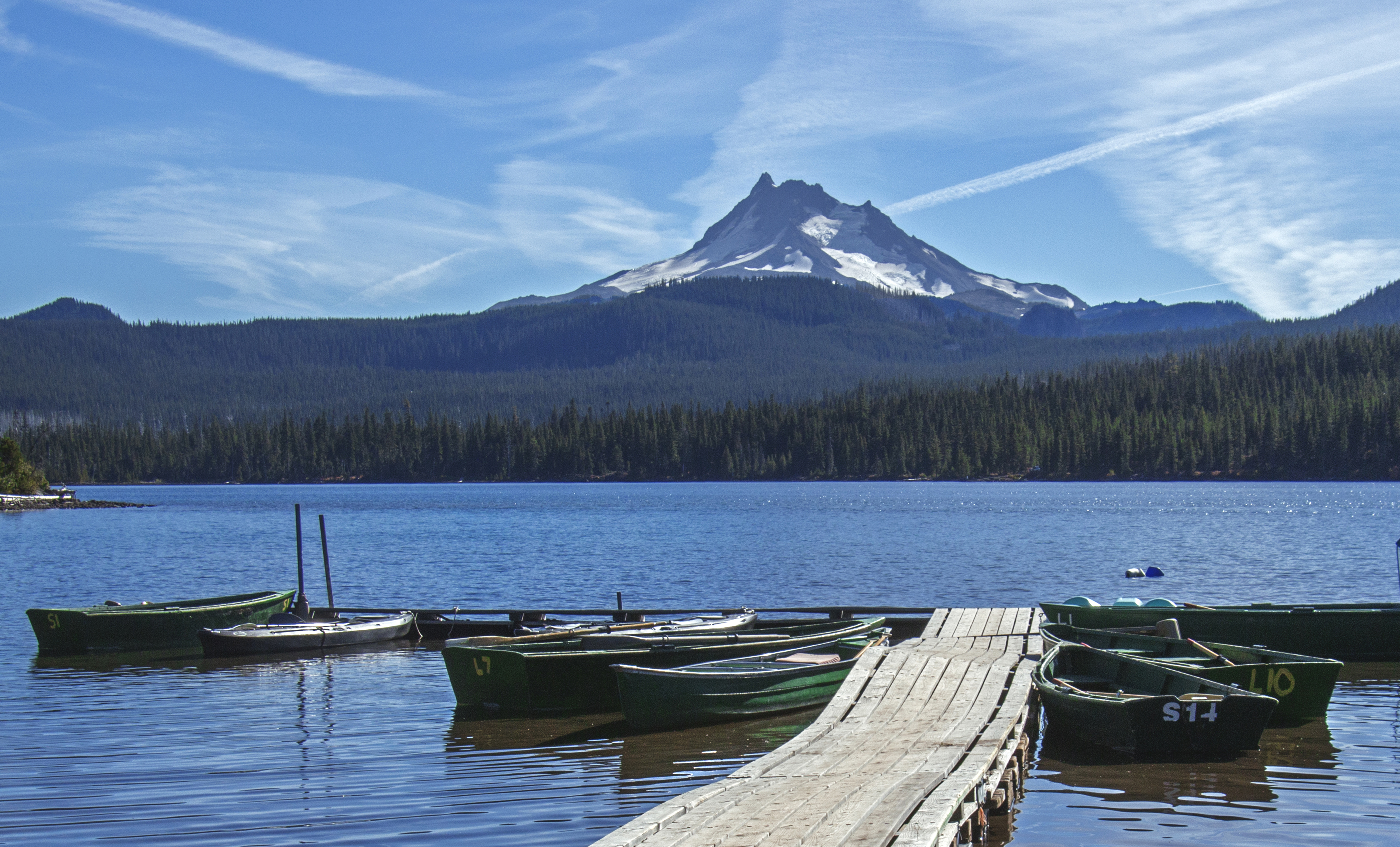 Mt Jefferson from Olallie Lake, Oregon, Boat, Forest, Mountain, Oregon, HQ Photo