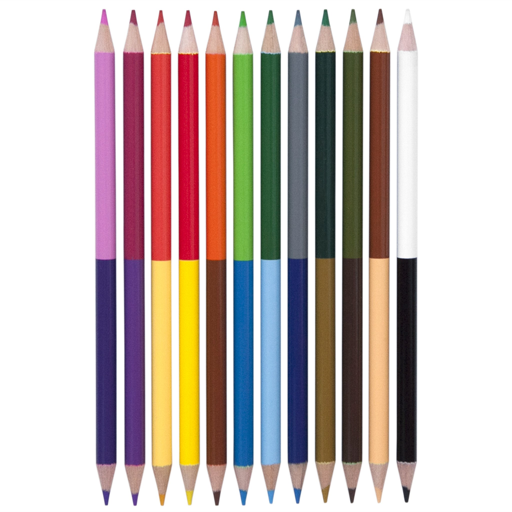 Double Ended Colored Pencils, 12 Pack - Multicolor - Yoobi