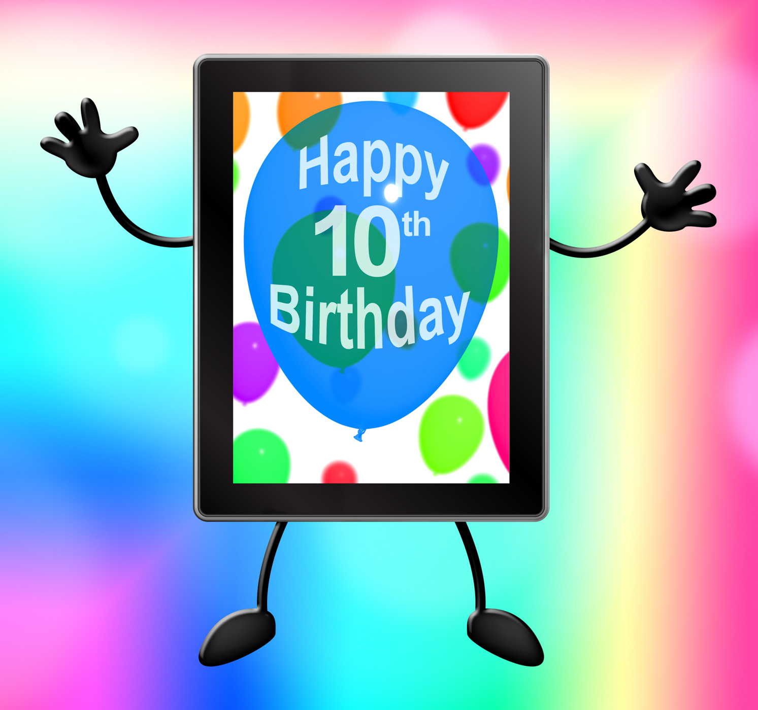 Multicolored balloons for celebrating a 10th or tenth birthday tablet photo