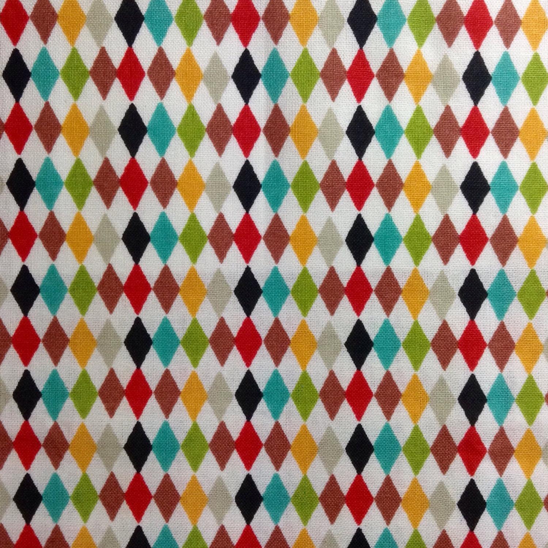 One Fat Quarter of Fabric Material - Multi Colored Mini Harlequin ...