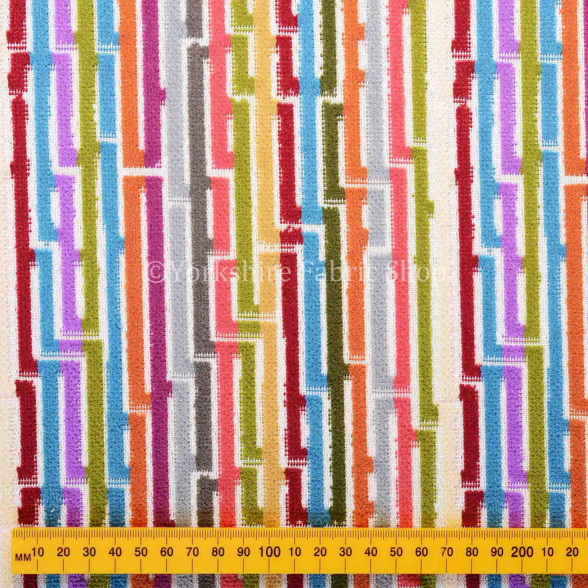 Amazilia Velvet Collection Multi Coloured Geometric Line Striped ...